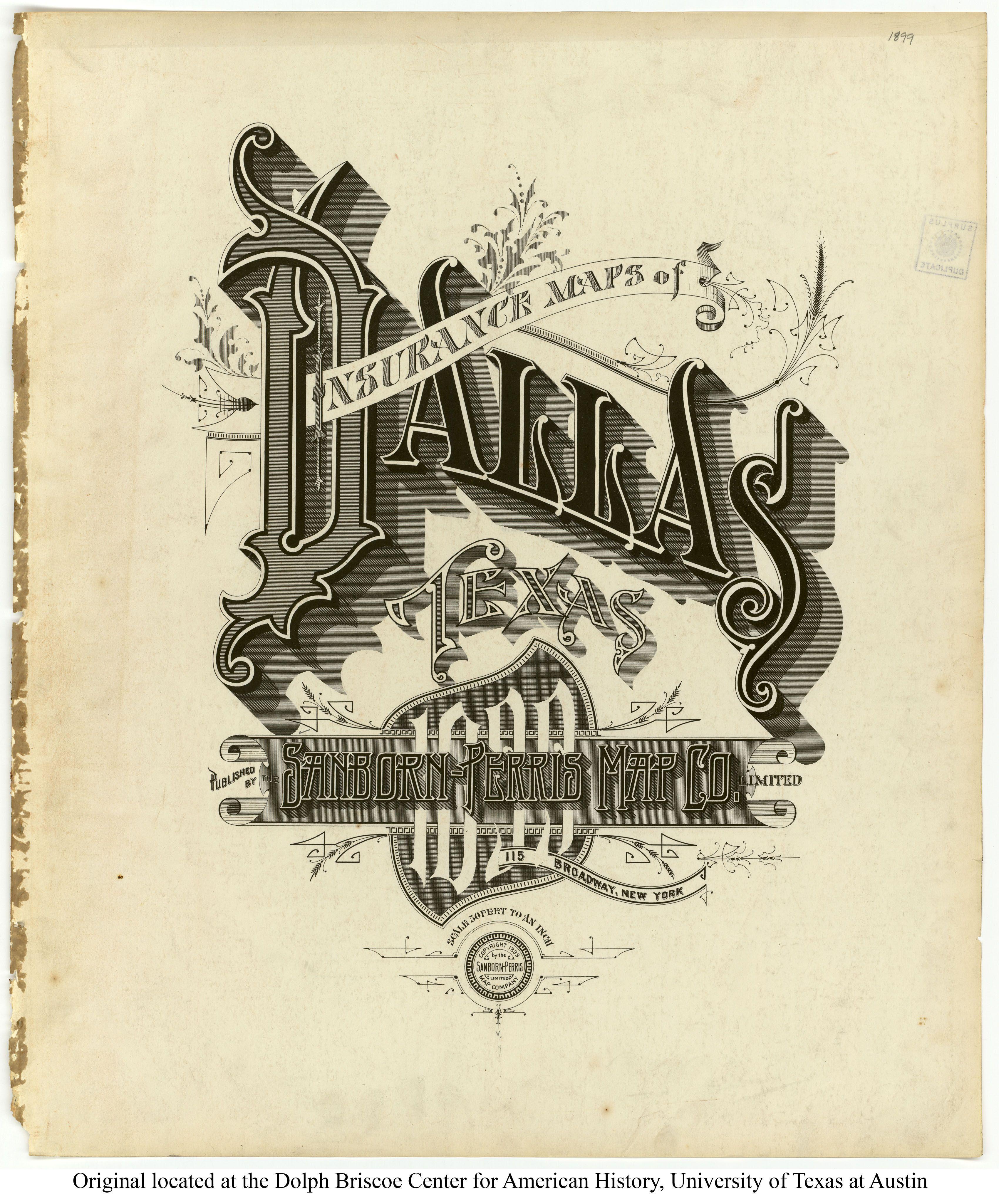 Sanborn Insurance Map - Texas - Dallas - 1899 | Typography | Vintage - Map Insurance Texas