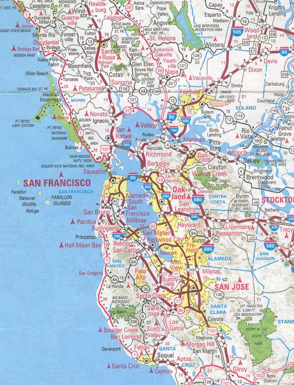 Sanfrancisco Bay Area And California Maps | English 4 Me 2 - Printable Map Of San Francisco Bay Area