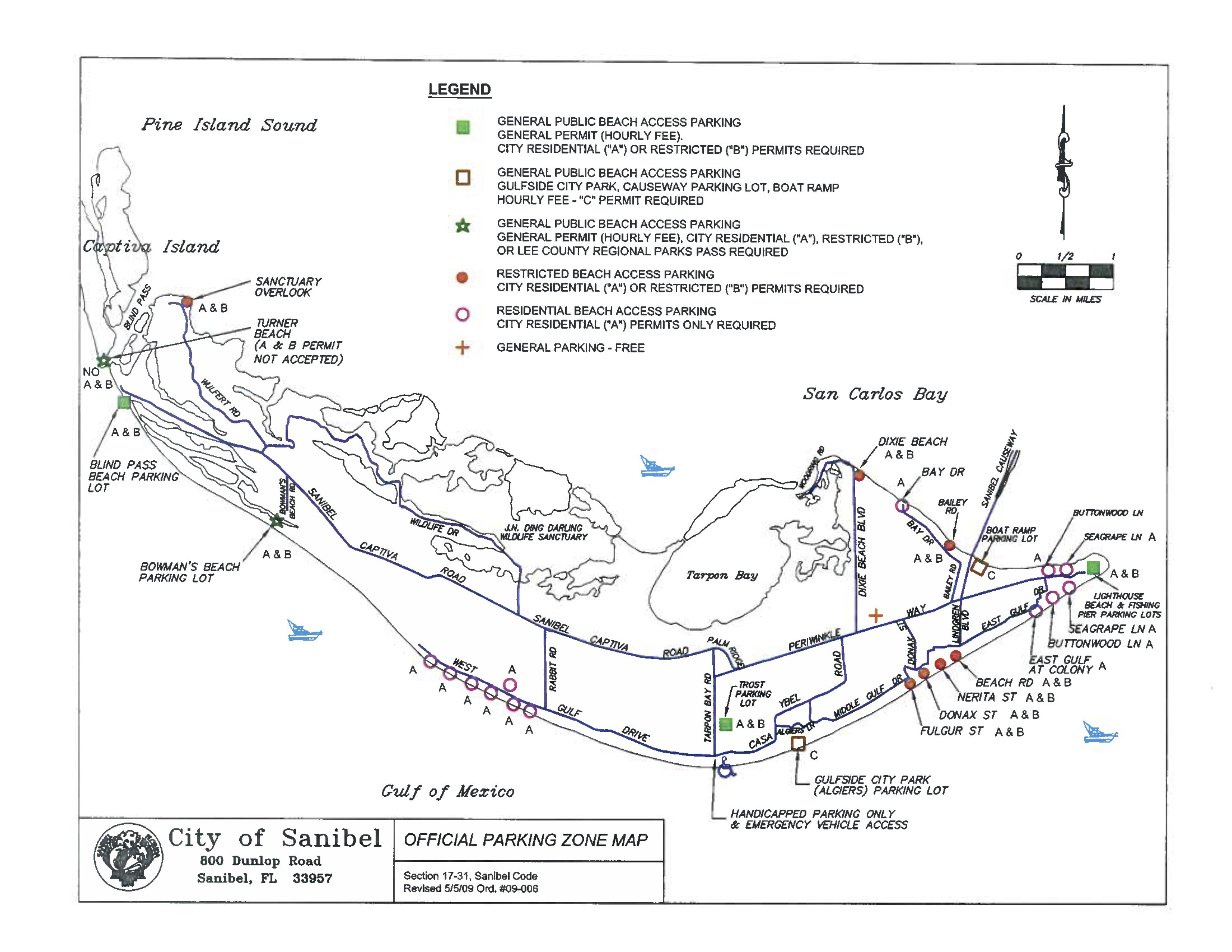 Sanibel Captiva Beach Parking Map | Restrooms | Beach Access | I - Sanibel Florida Map
