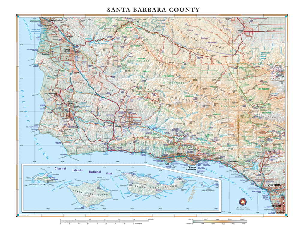 Santa Barbara County Wall Map — Benchmark Maps - Northern California Wall Map