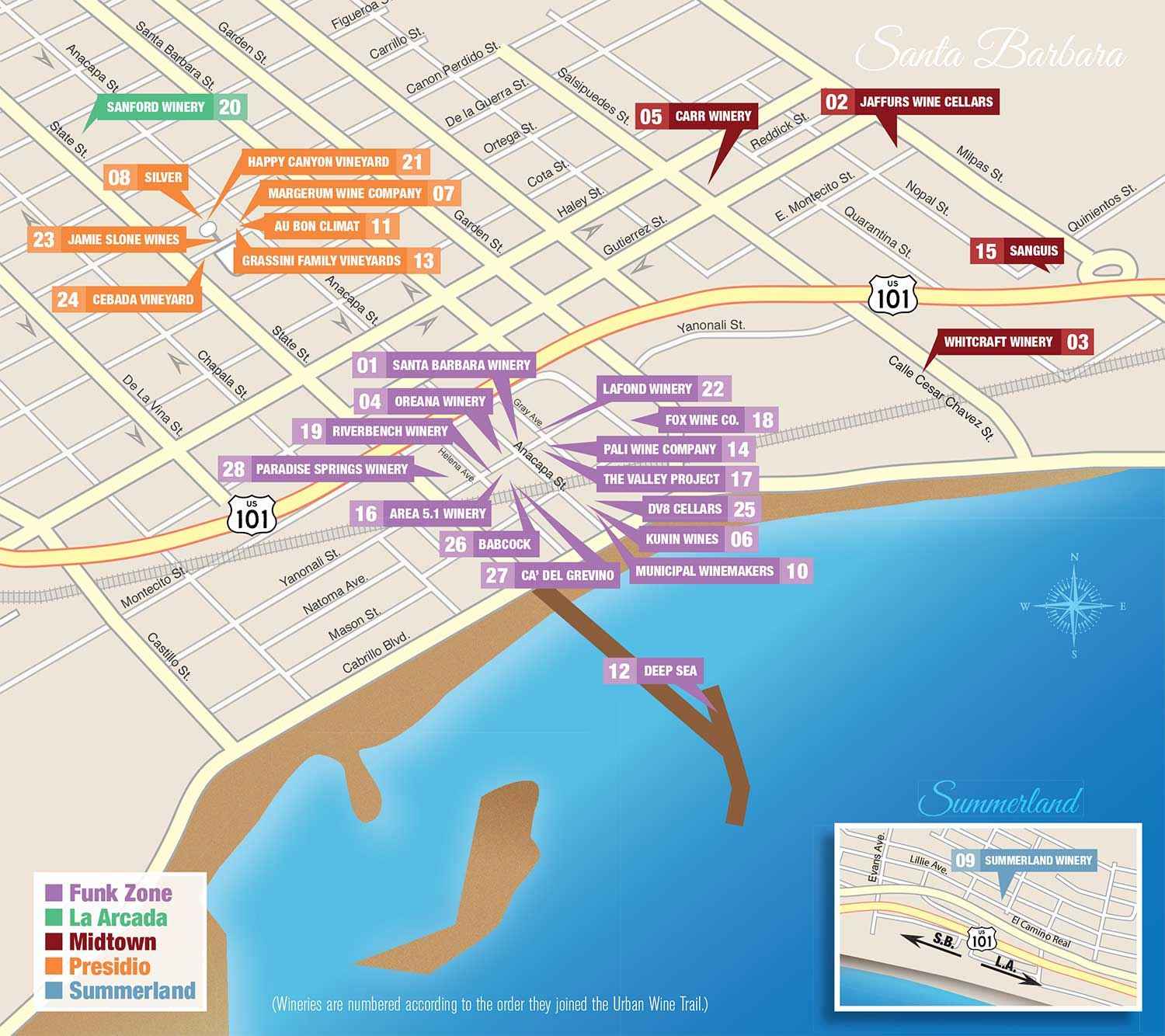 Santa Barbara Urban Wine Trail Map - California Wine Trail Map