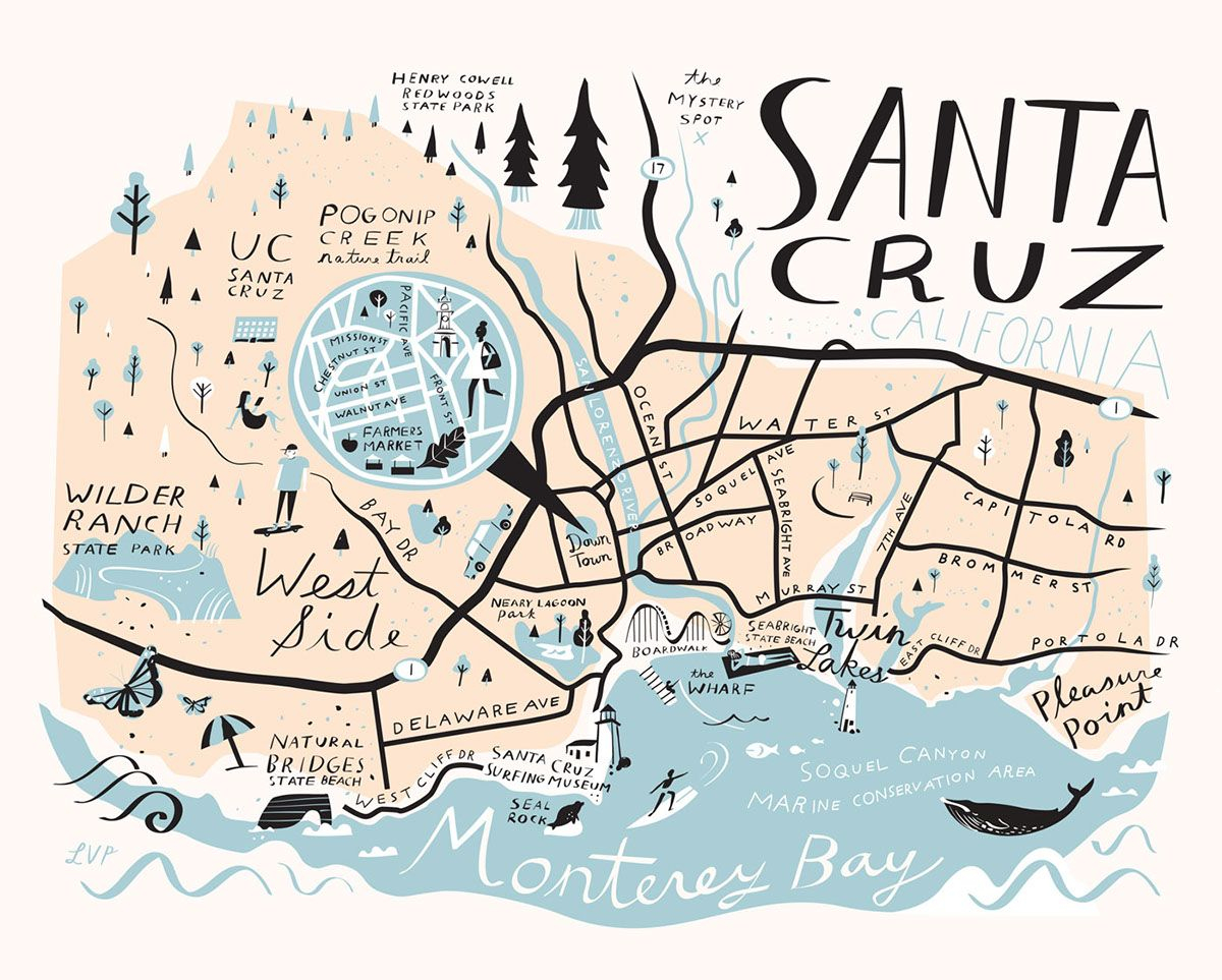 Santa Cruz Map - Libby Vanderploeg | ✚Happy Things | Pinterest - Where Is Santa Cruz California On The Map