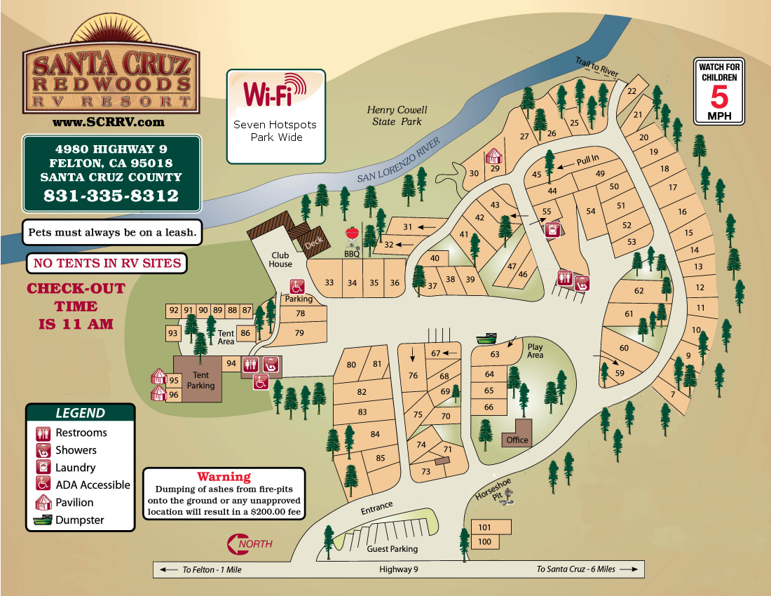 Santa Cruz Redwoods Rv Resort & Rv Park Map - California Rv Campgrounds Map