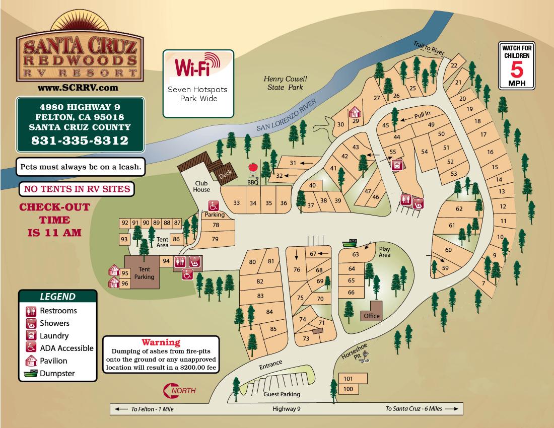 Santa Cruz Redwoods Rv Resort & Rv Park Map - California Rv Resorts Map