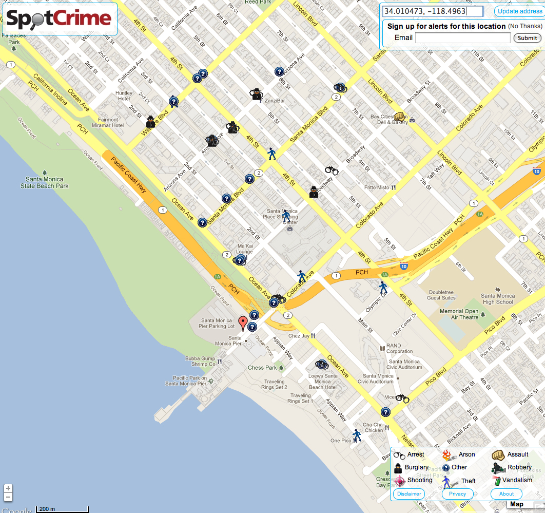Santa Monica Ca Spots Crime California Road Map Map Of Santa Monica - Where Is Santa Monica California On A Map