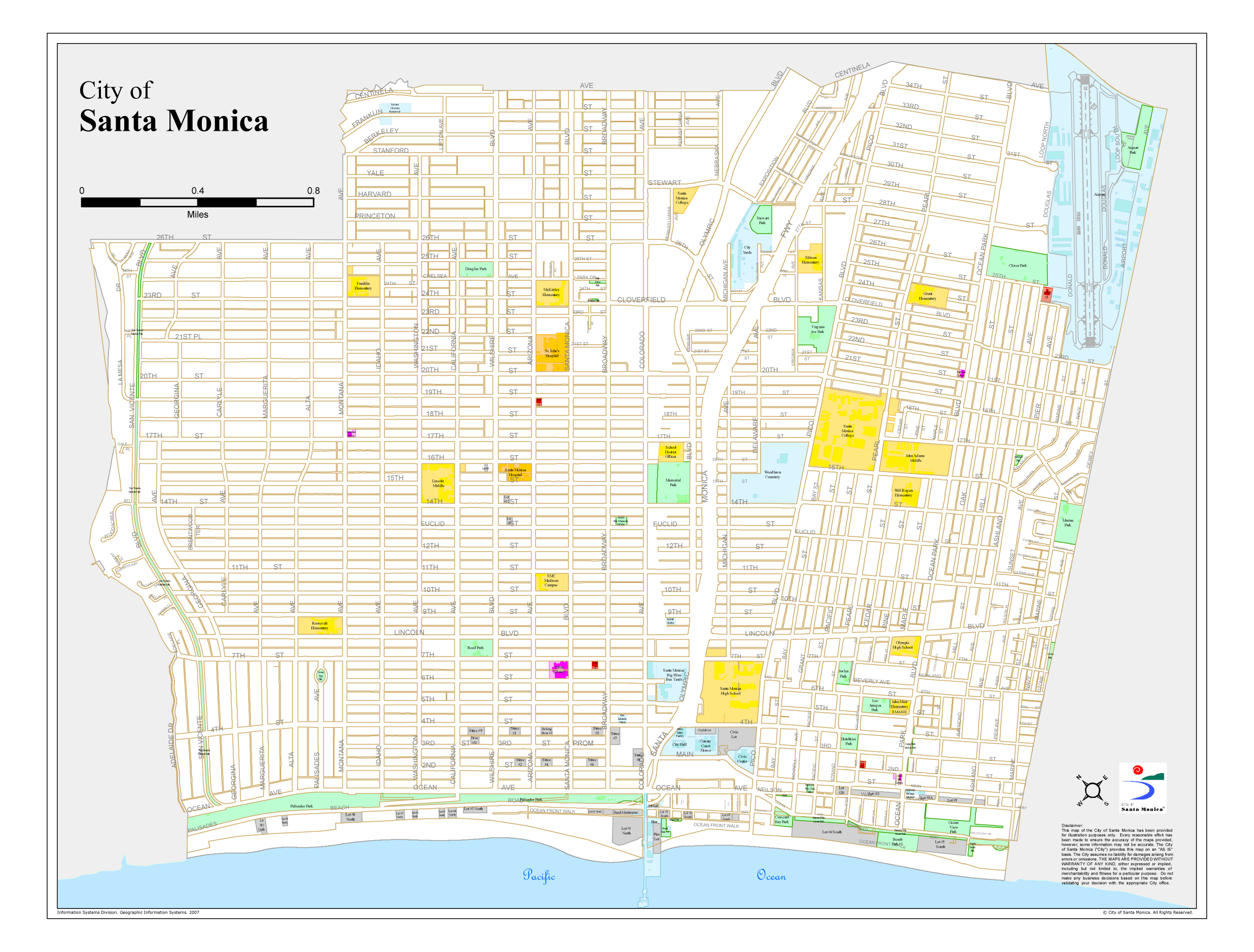 Santa Monica City Map Map California Map Of Santa Monica California - Where Is Santa Monica California On A Map