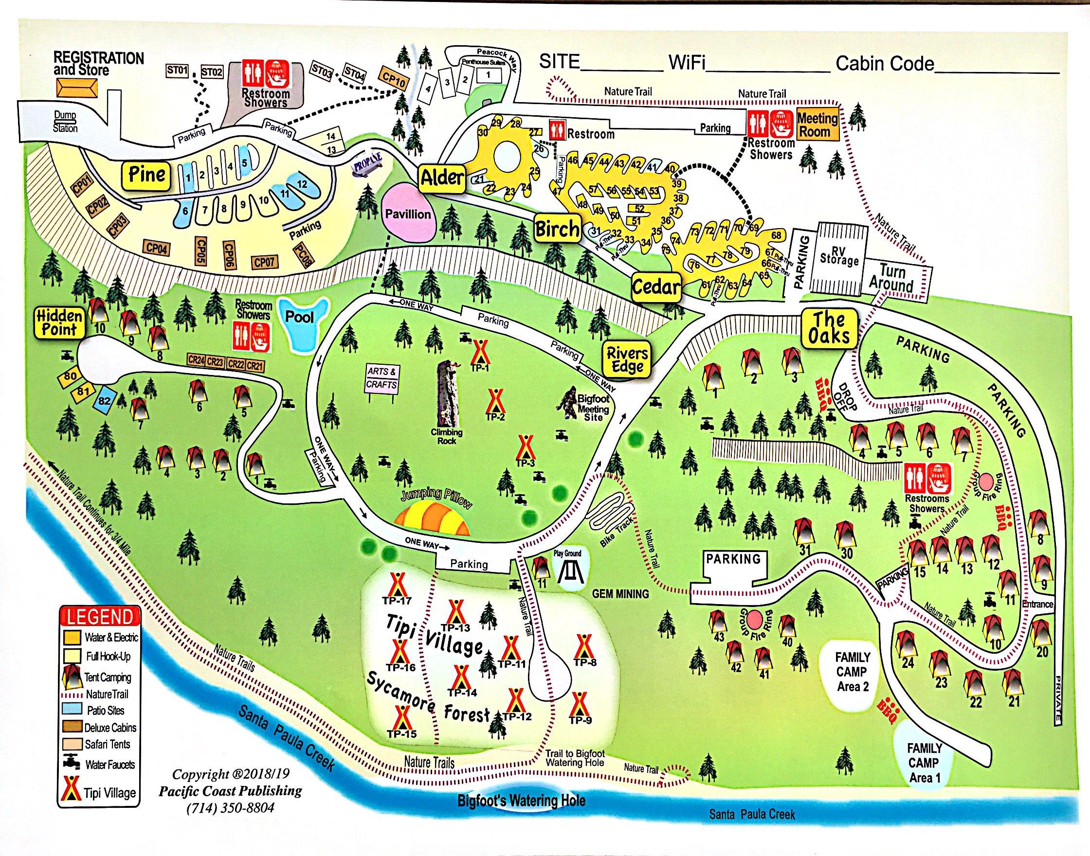 Santa Paula, California Campground | Ventura Ranch Koa - California Tent Camping Map