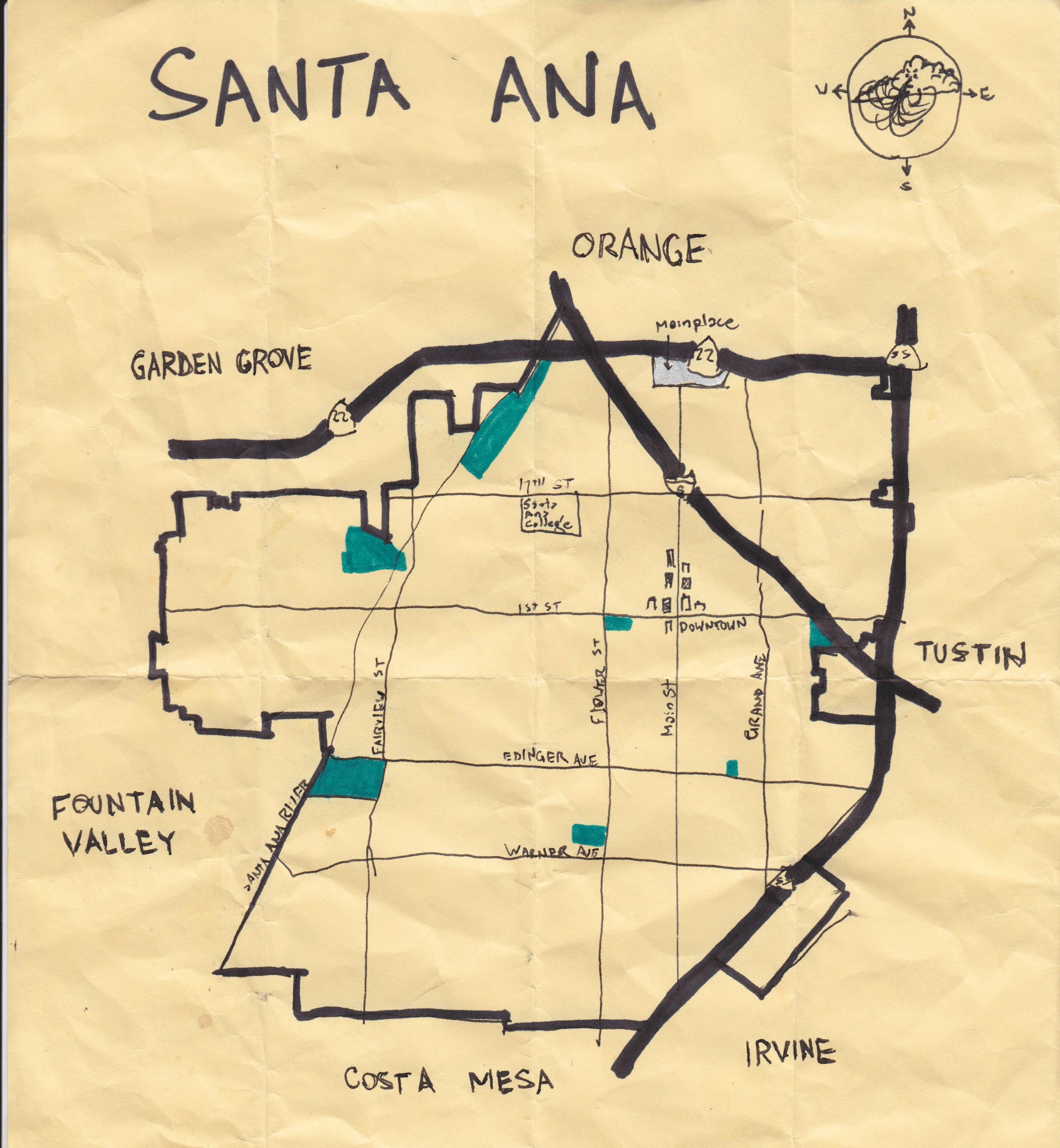 Santaana Detailed Of Map Where Is Santa Ana California On Map - Santa Ana California Map