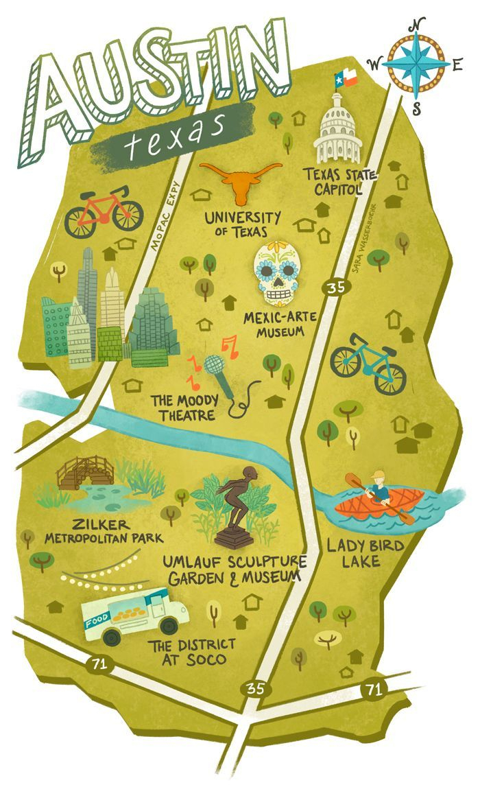Sara Wasserboehr - Map Of Austin Texas | Wanna Go, Gotta Go! - Travel Texas Map