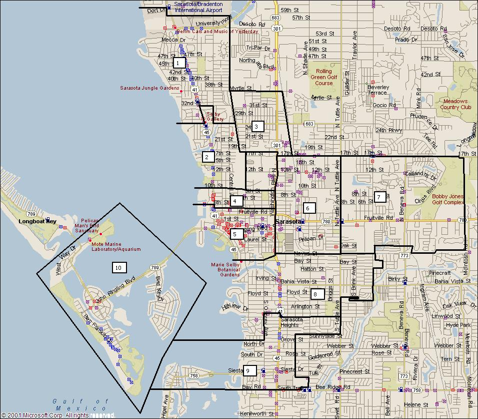 Sarasota Florida City Map - Sarasota Florida • Mappery - Map Of Sarasota Florida Neighborhoods