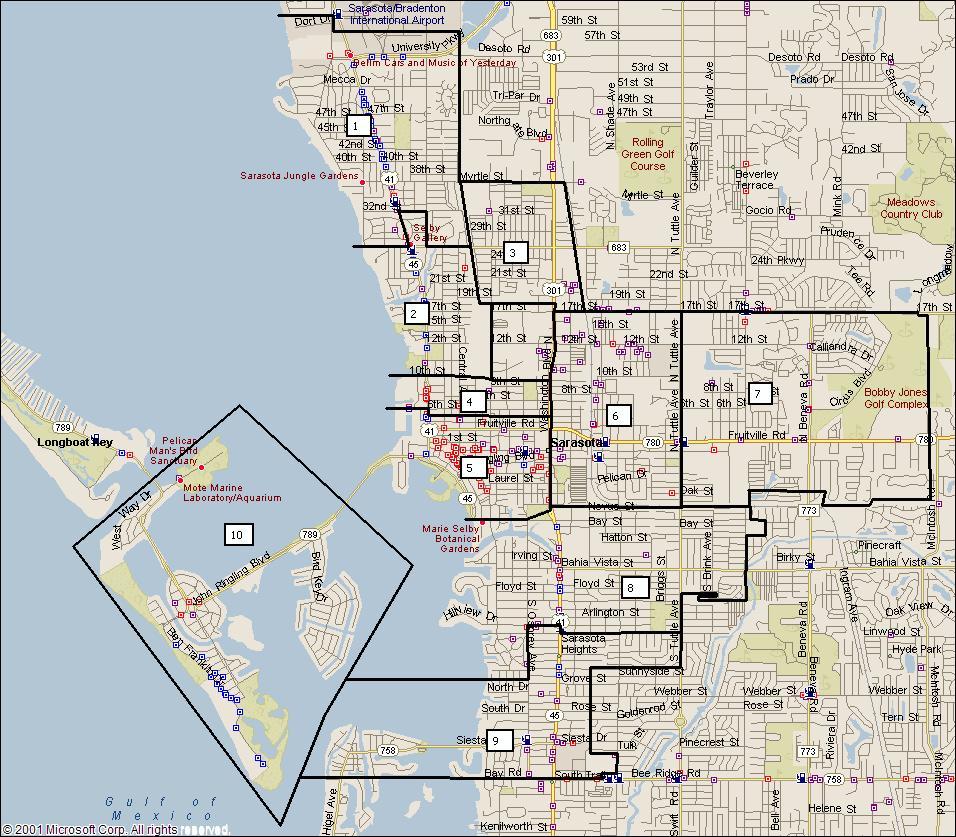 Sarasota Florida City Map - Sarasota Florida • Mappery - Sarasota Beach Florida Map