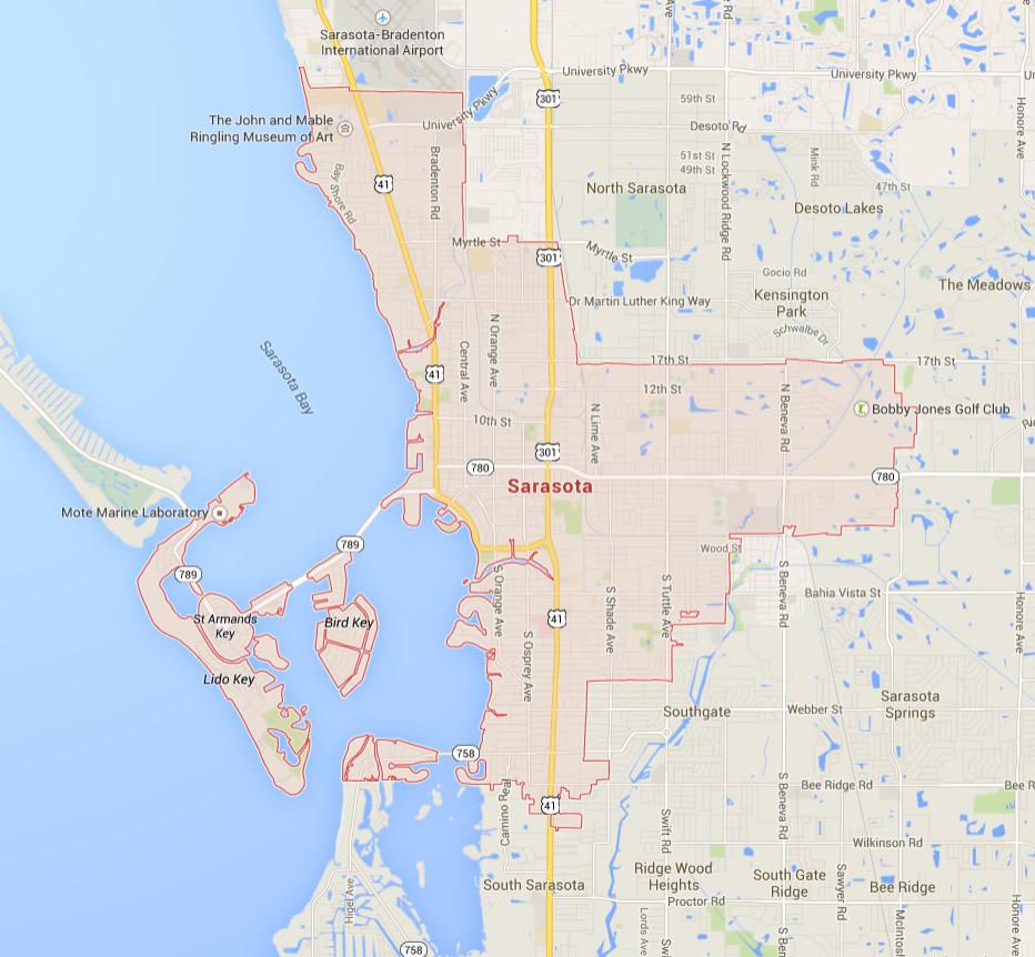 Sarasota Florida Map - Map Of Sarasota Florida Area