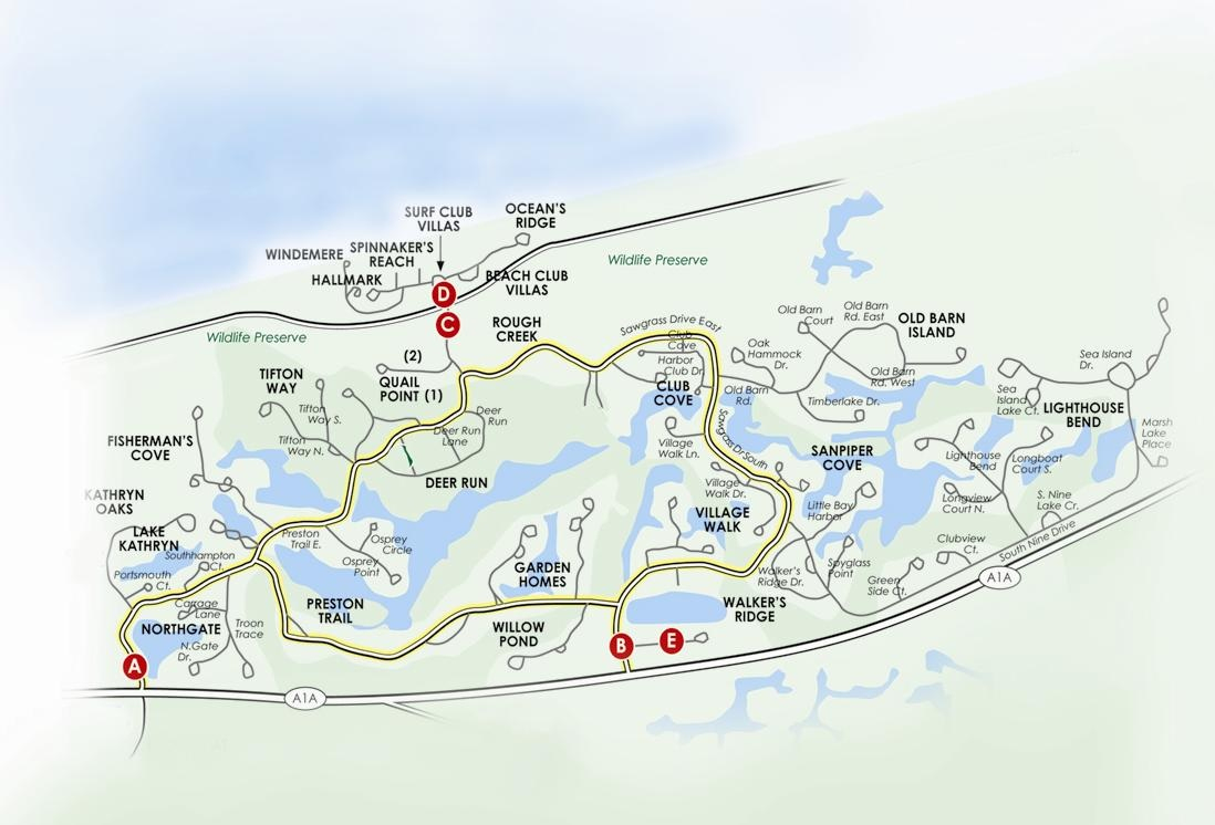Sawgrass Map | Jack Gausnell | 970-309-3620 | Ponte Vedra Beach Fl - Ponte Vedra Florida Map