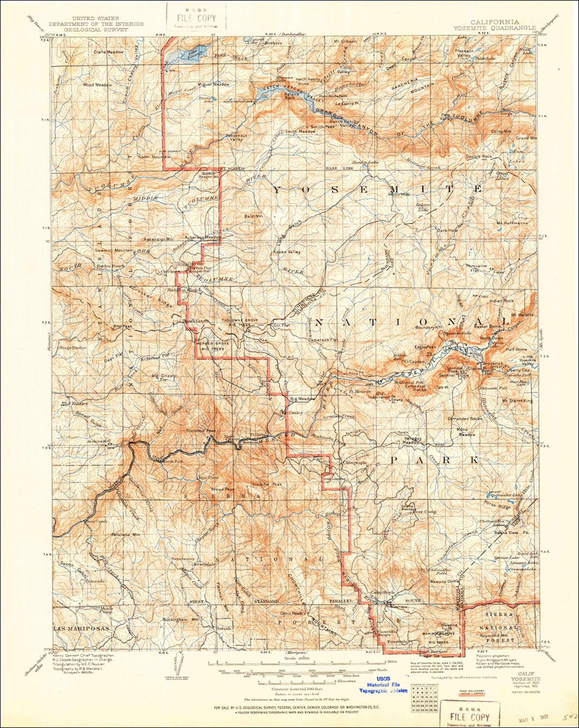 Scan Of The 1909 Usgs Quadrangle Of The Yosemite, California Area - Usgs Topo Maps California