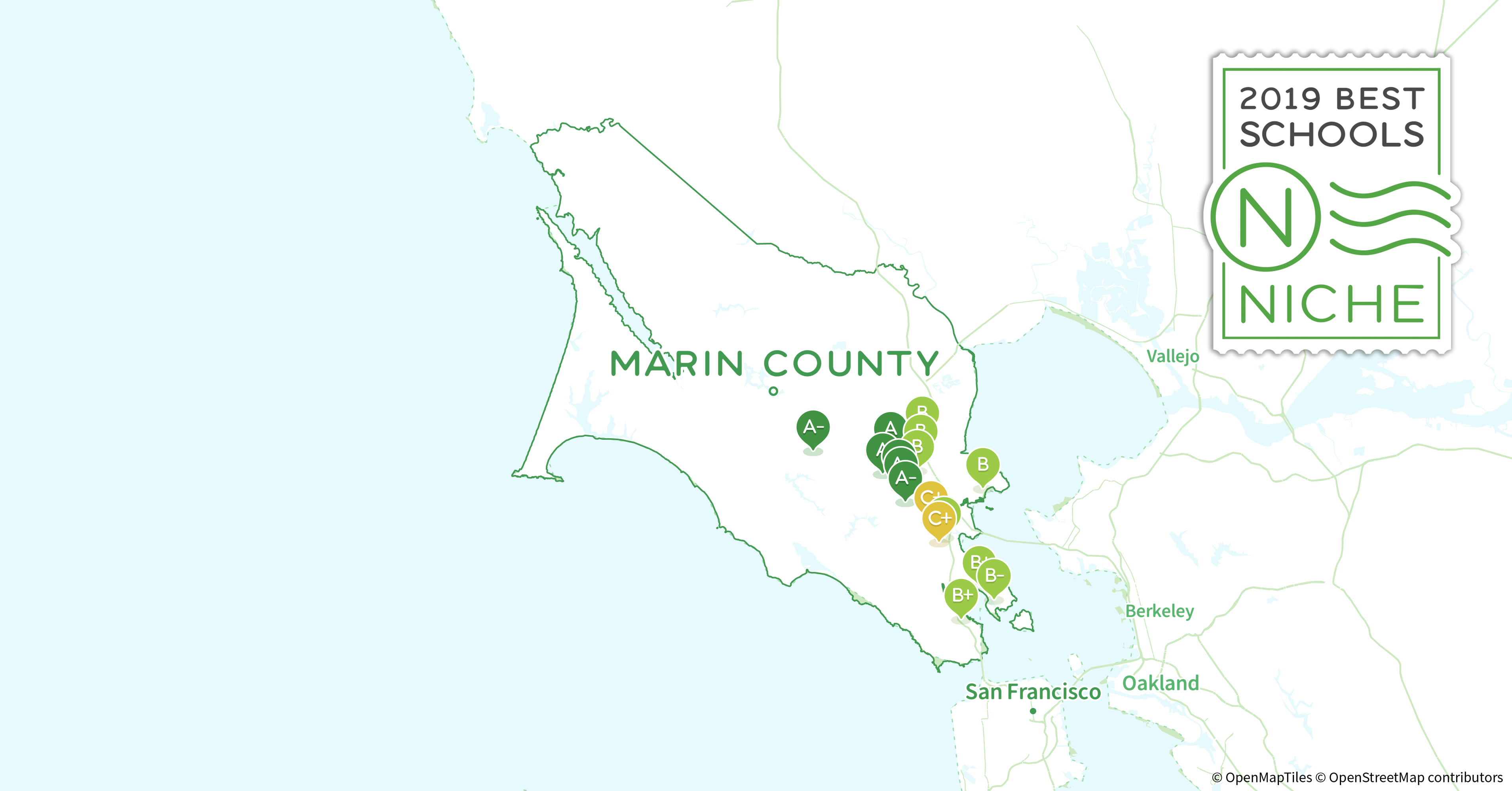 School Districts In Marin County, Ca - Niche - California School District Rankings Map