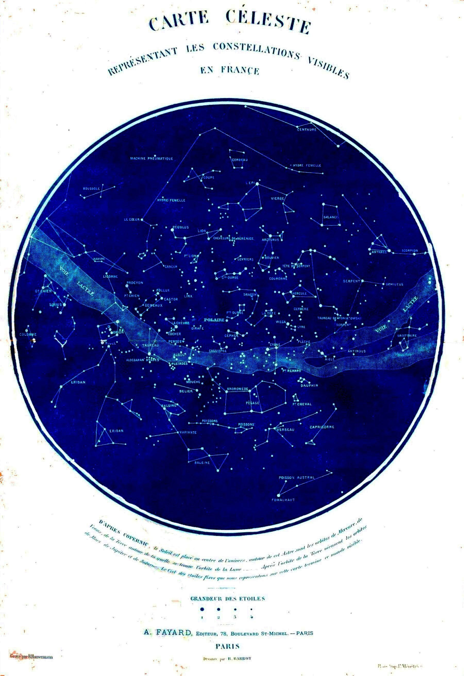 Science - Astronomy - Map - Celestial Map Of Constellations Visible - Printable Constellation Map