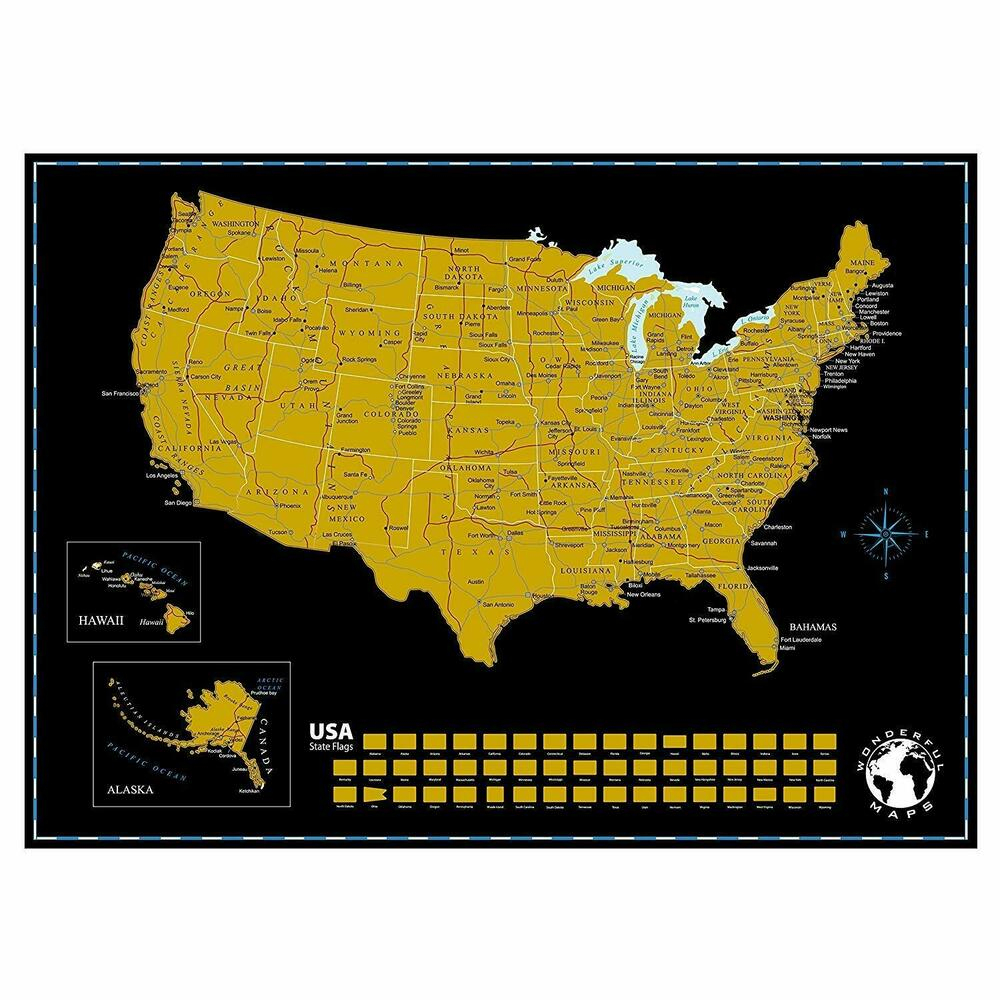 Scratch Off Map Of The United States Of America With State Flags On - Florida Scratch Off Map