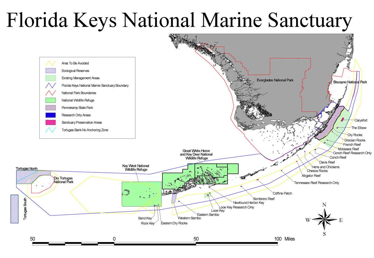 Scuba Diver's Guide To The Florida Keys - Florida Dive Sites Map