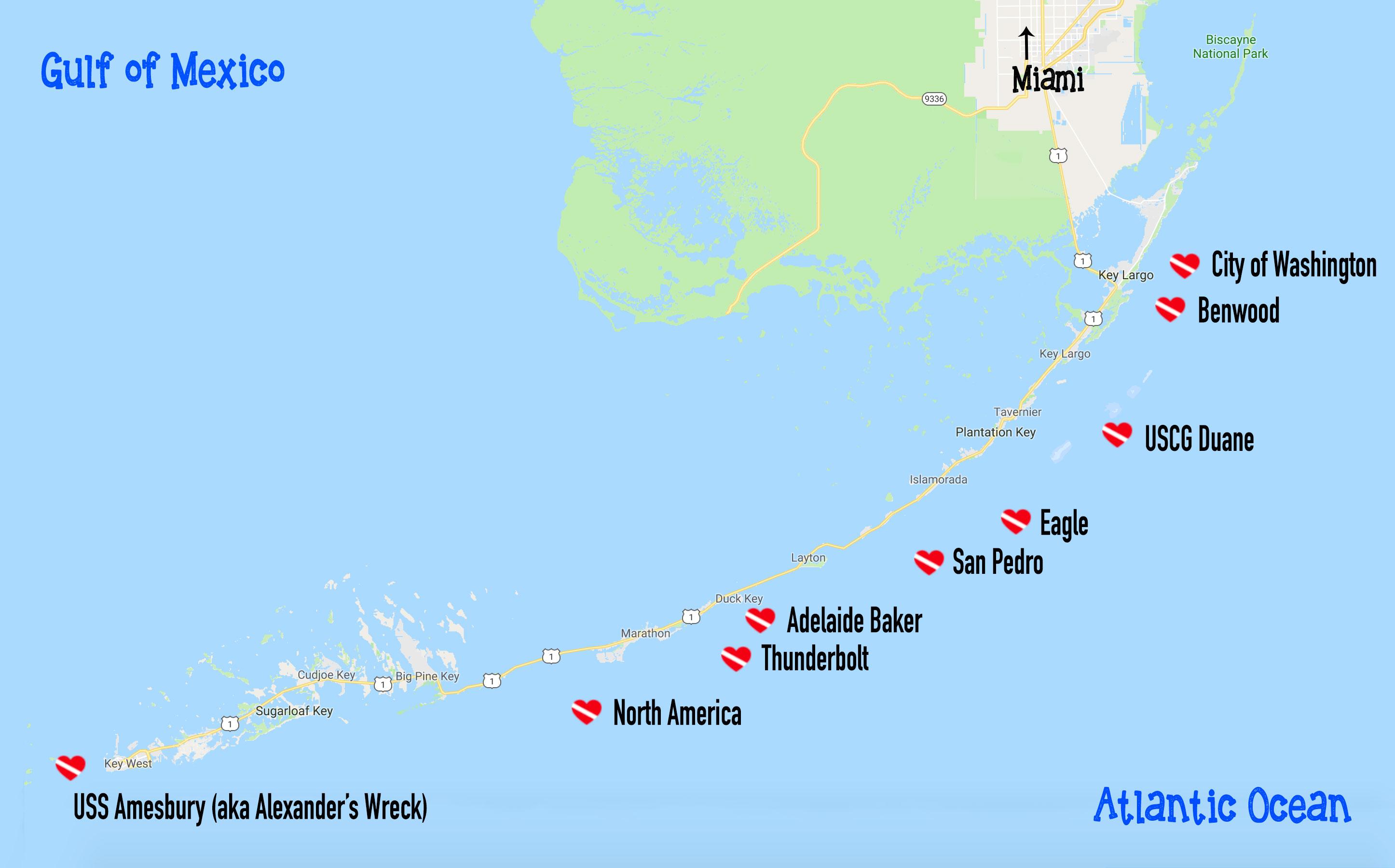 Scuba Diving Key Largo Florida   Dive Buddies For Life - Florida Dive Sites Map