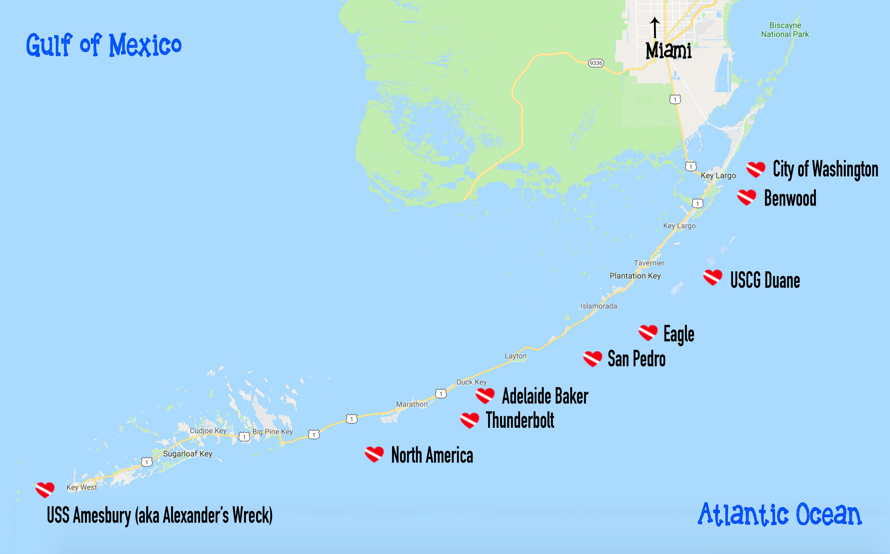 Scuba Diving Key Largo Florida | Dive Buddies For Life - Florida Wreck Diving Map