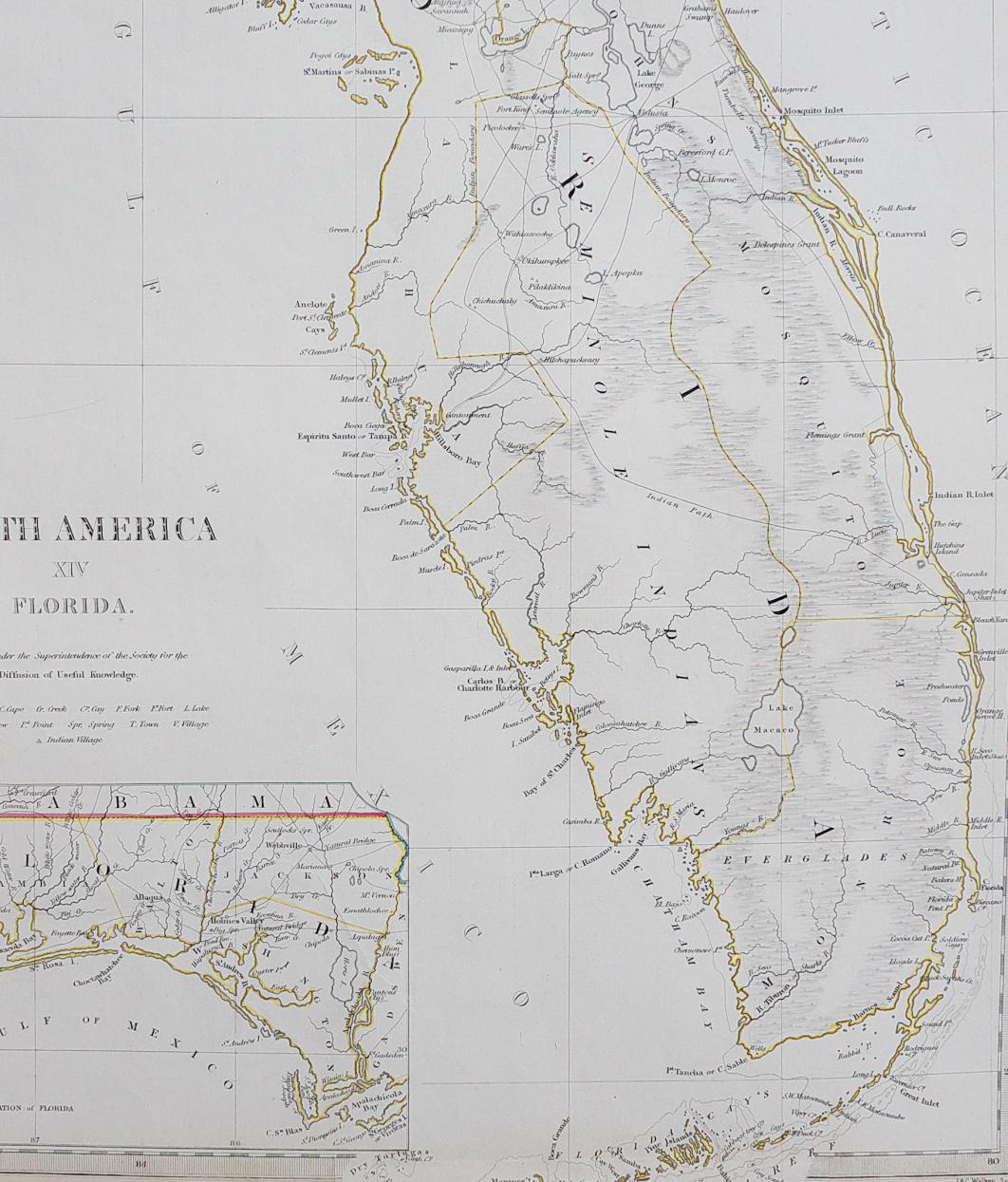 Sduk Map Of Florida 1834 || Michael Jennings Antique Maps And Prints - Jennings Florida Map