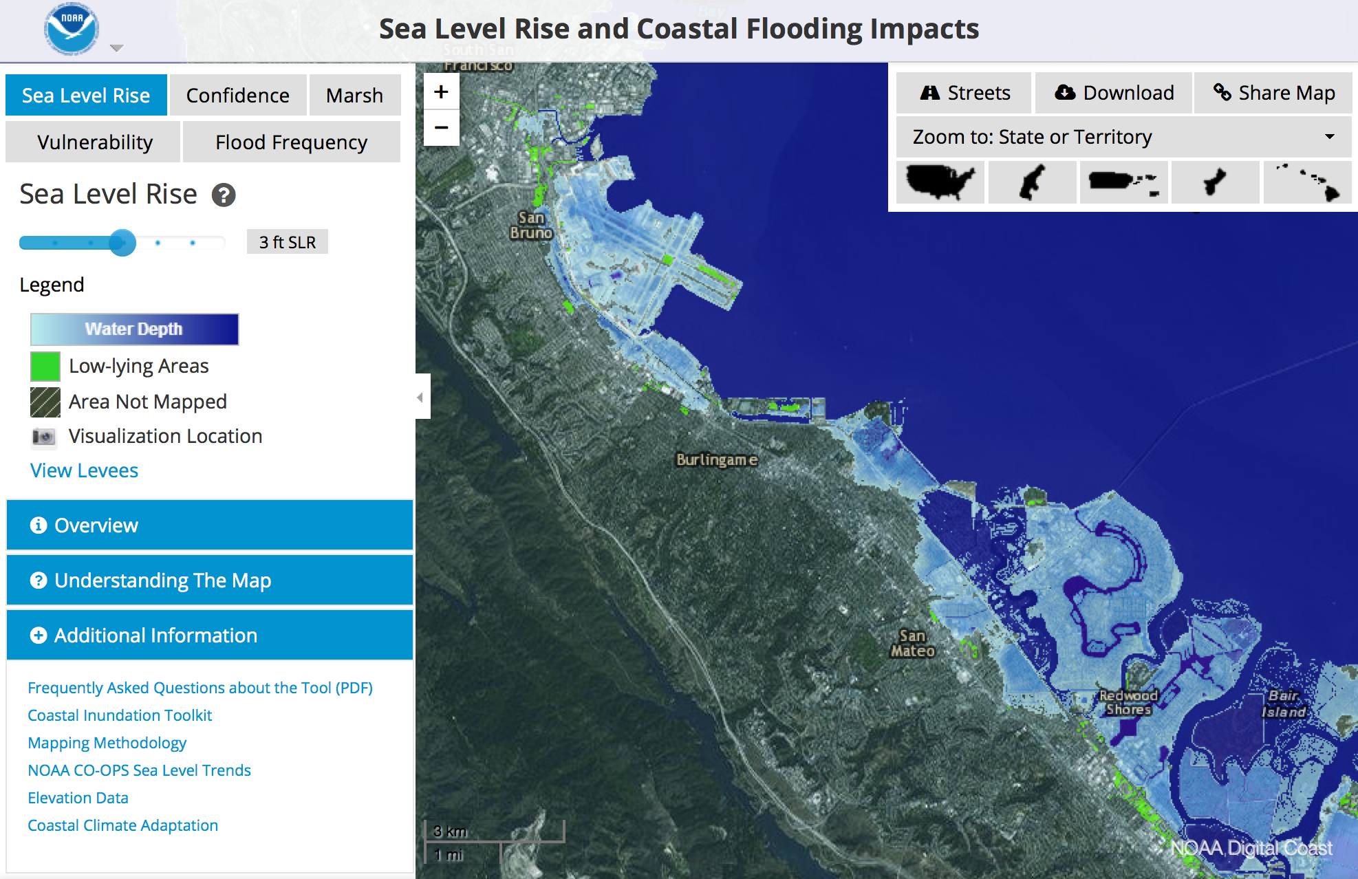 Sea Level Rise - Map Viewer | Noaa Climate.gov - Florida Sea Level Rise Map