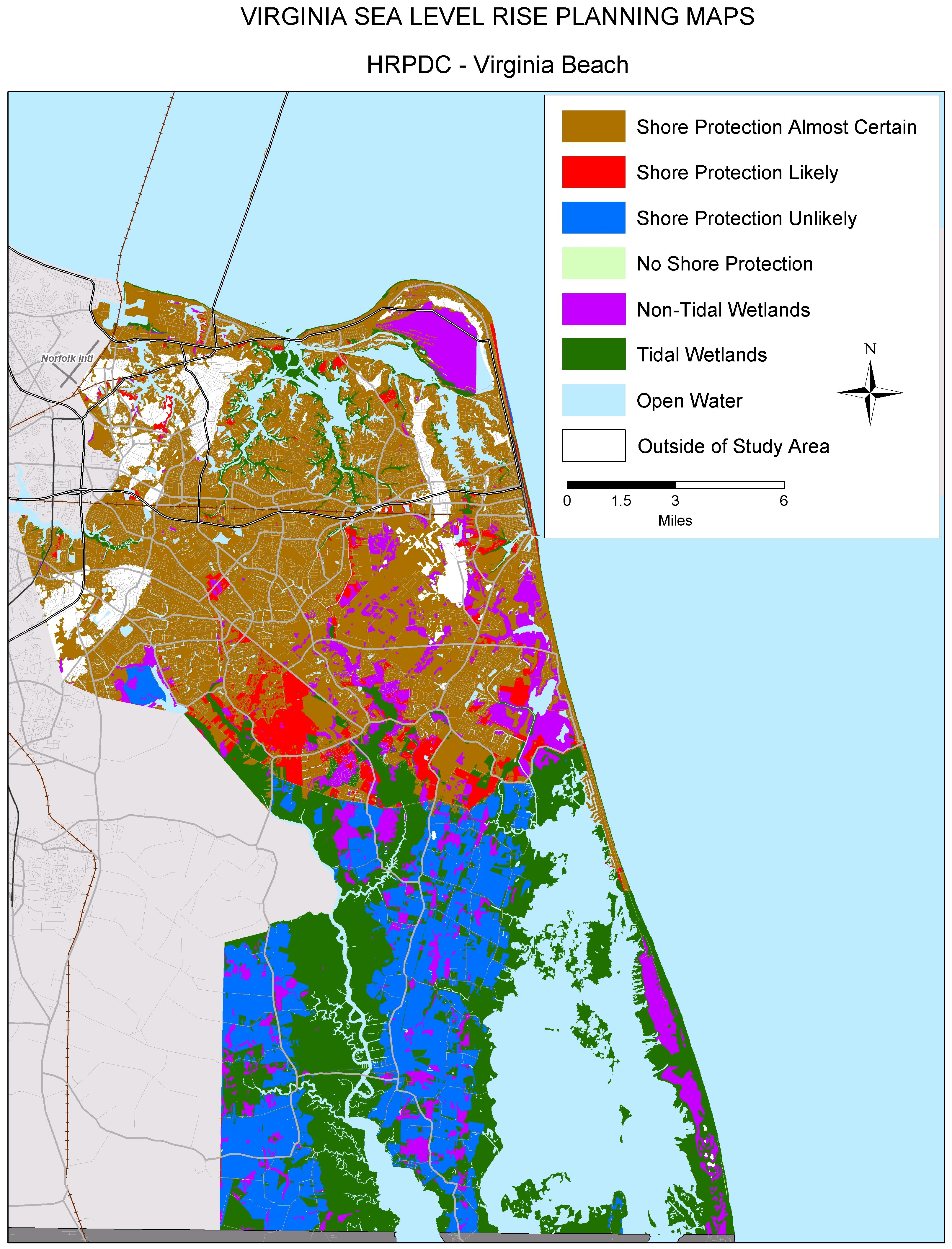 Sea Level Rise Planning Maps: Likelihood Of Shore Protection In Virginia - Florida Land Elevation Map