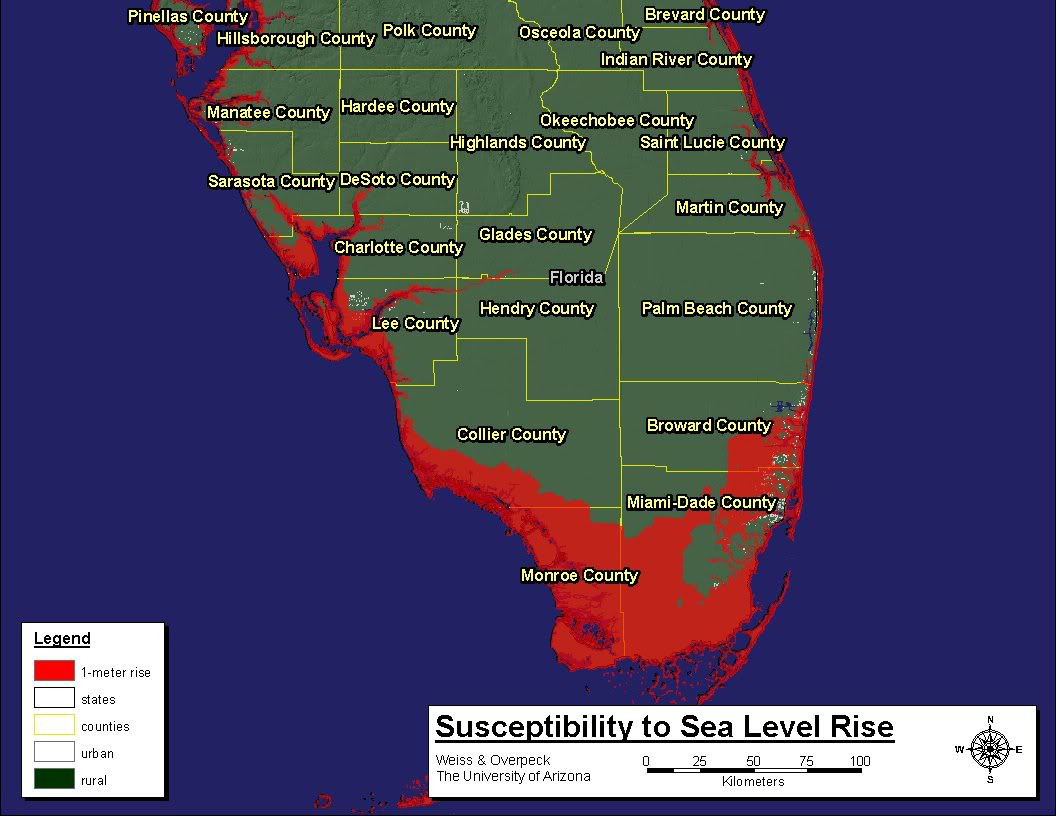Sea Level Rise South Florida Map | Verkuilenschaaij - Florida Map After Global Warming