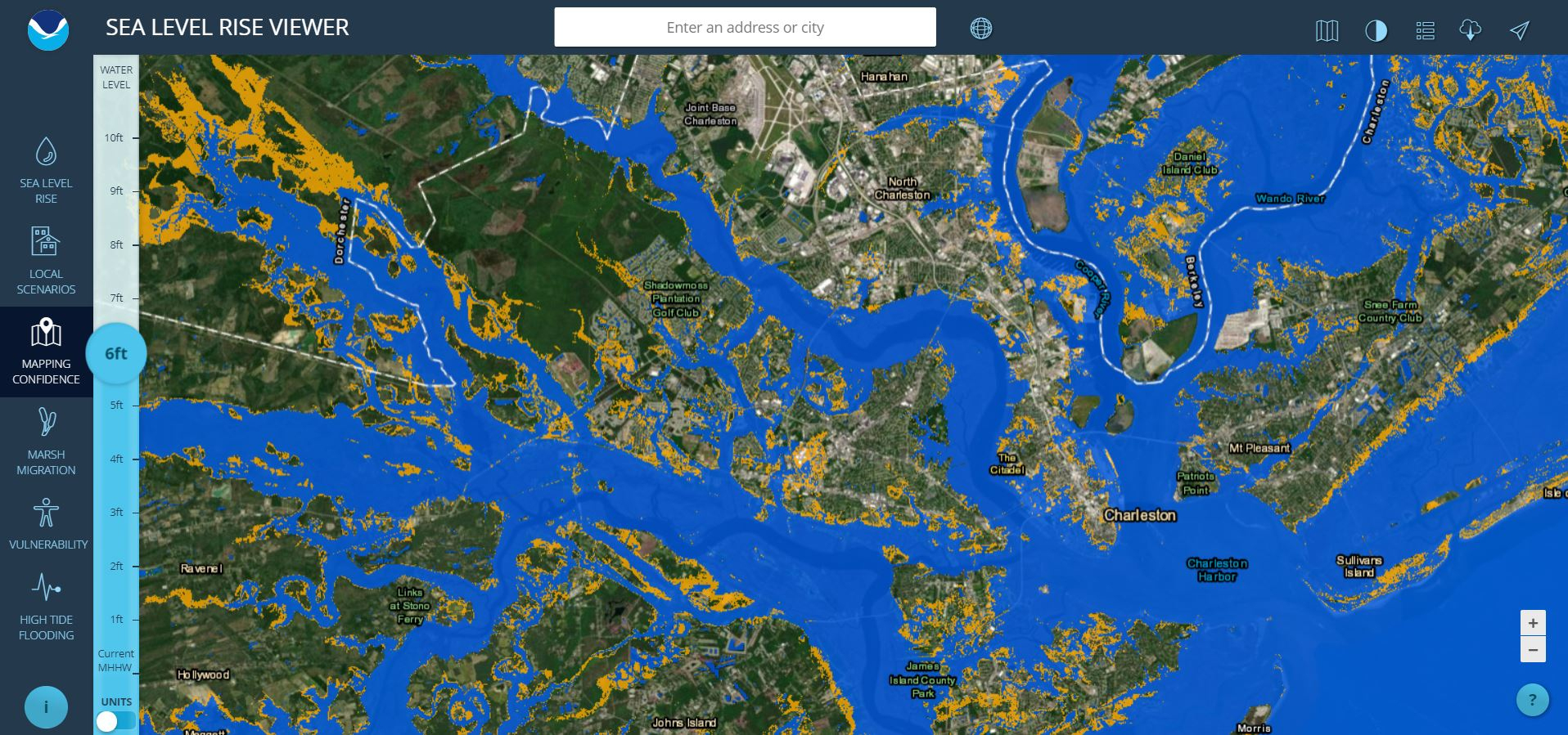 Sea Level Rise Viewer - Florida Elevation Above Sea Level Map