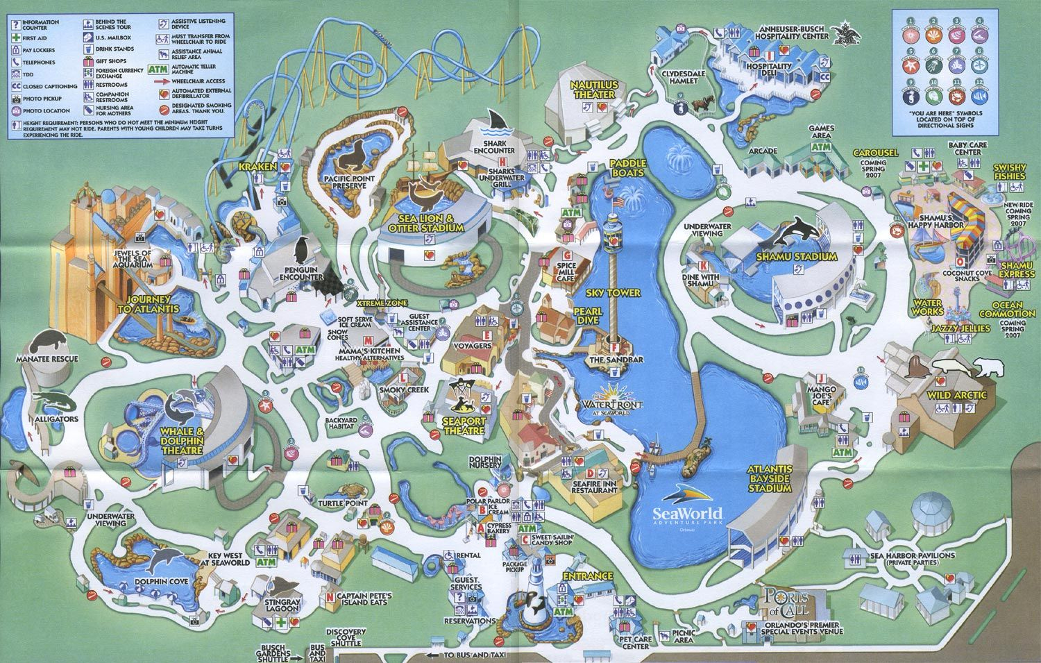 Sea World Orlando - Theme Park Brochures | Disney Vacation - Seaworld Orlando Map 2017 Printable