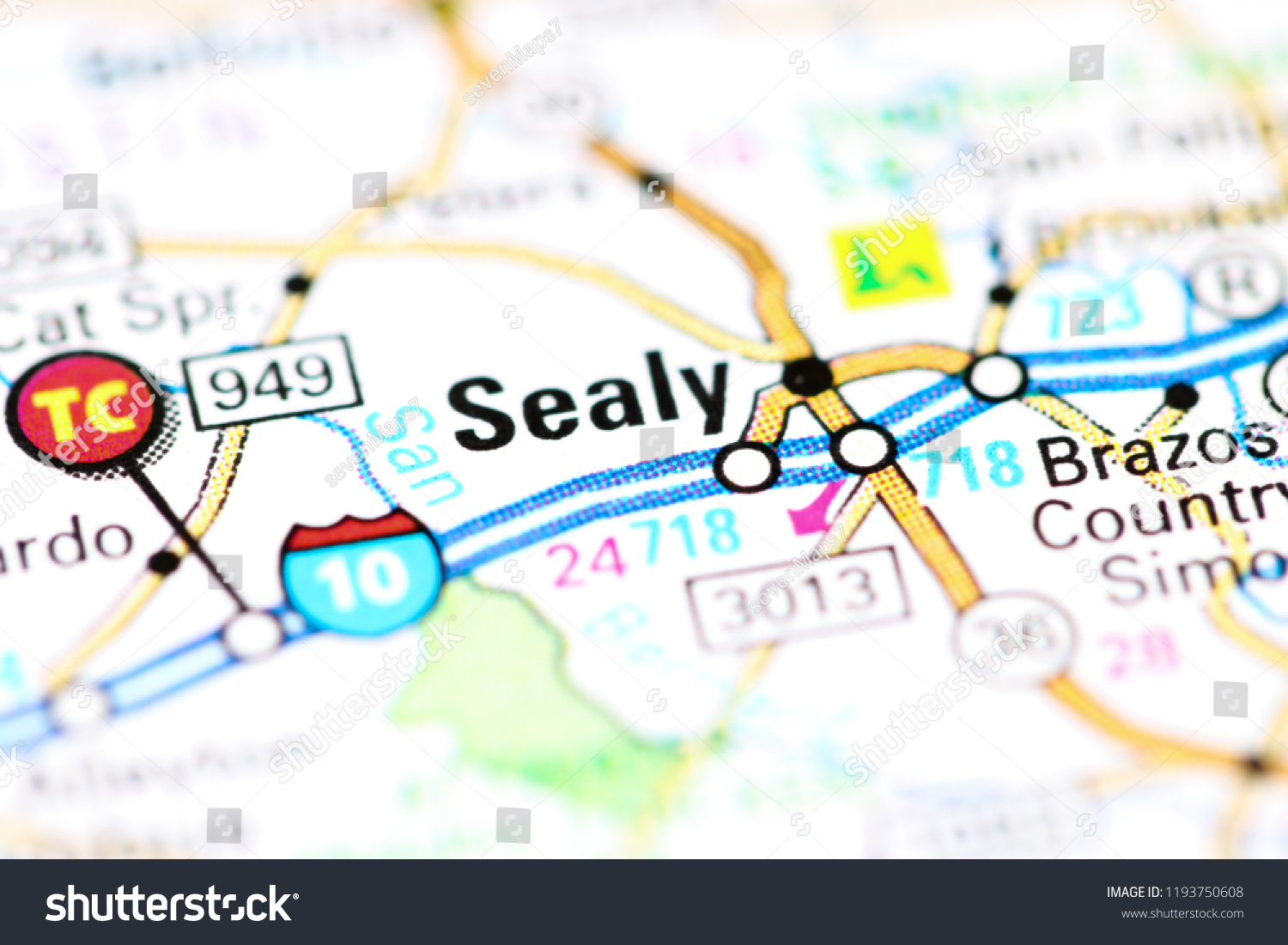 Sealy Texas Usa On Map Stock Photo (Edit Now) 1193750608 - Shutterstock - Sealy Texas Map