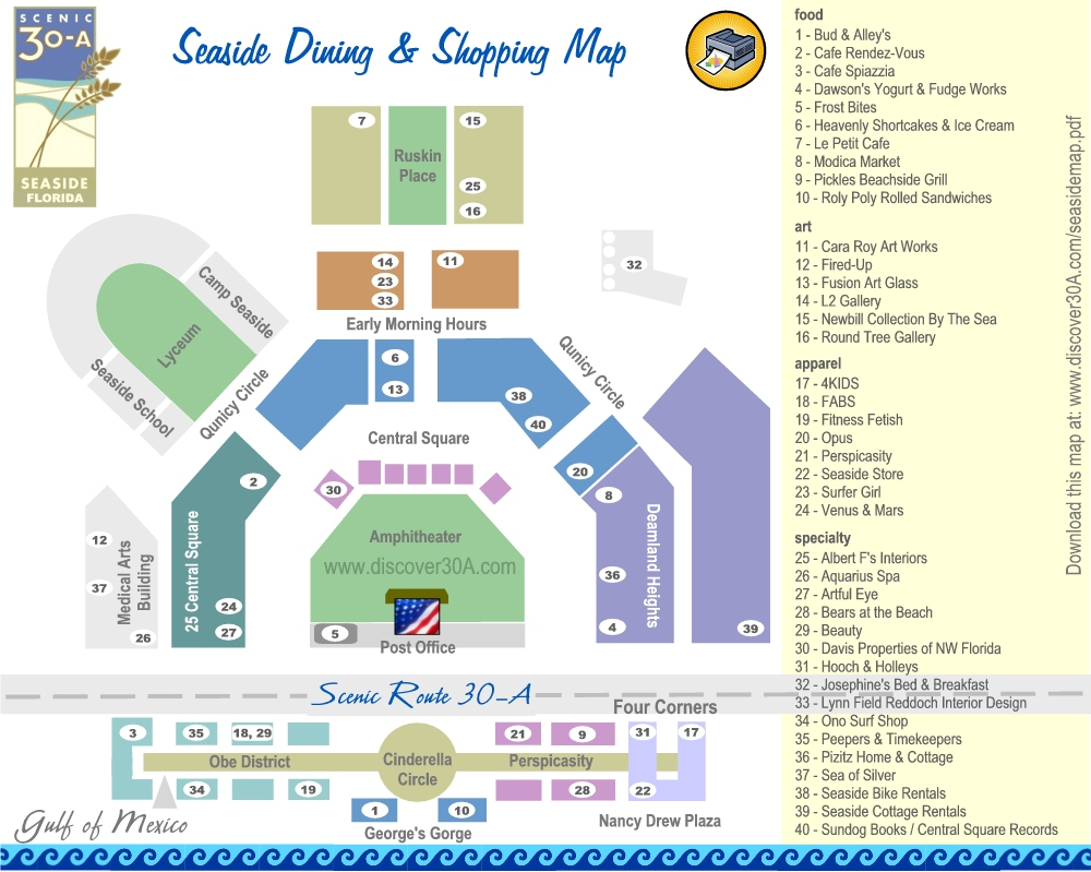Seaside Dining And Shopping Map | Discover 30A Florida - Seaside Beach Florida Map