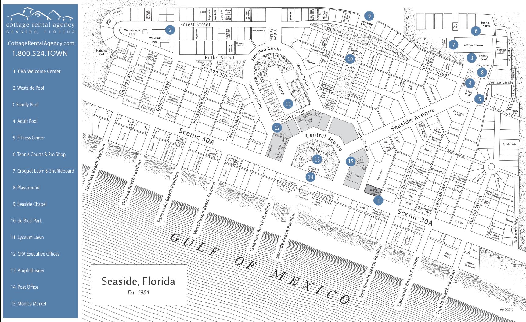 Seaside Fl Map - 2.10.samuelhill.co • - Seaside Florida Town Map
