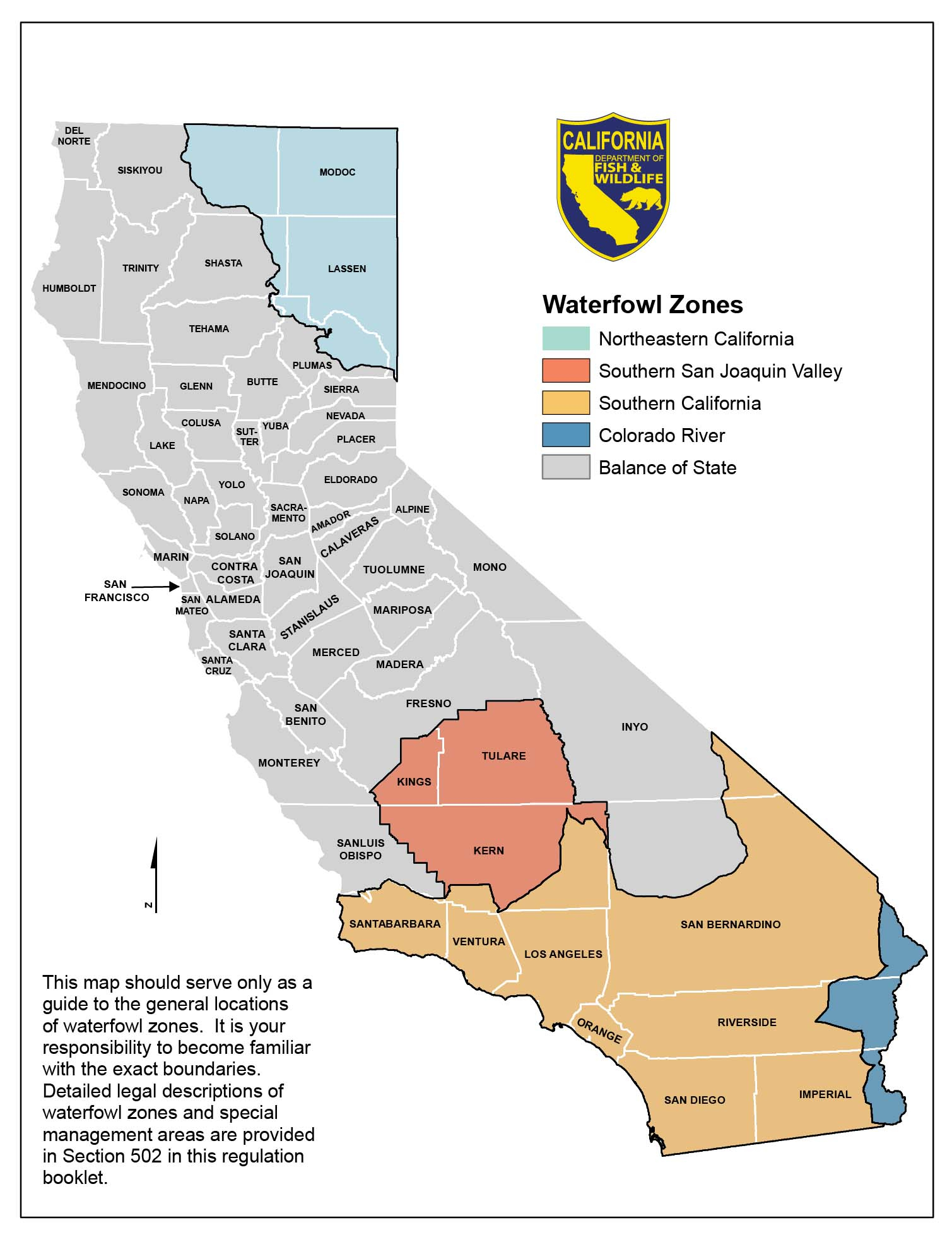 Season Dates And Bag Limits - California Waterfowl Association - Map Of Hunting Zones In California