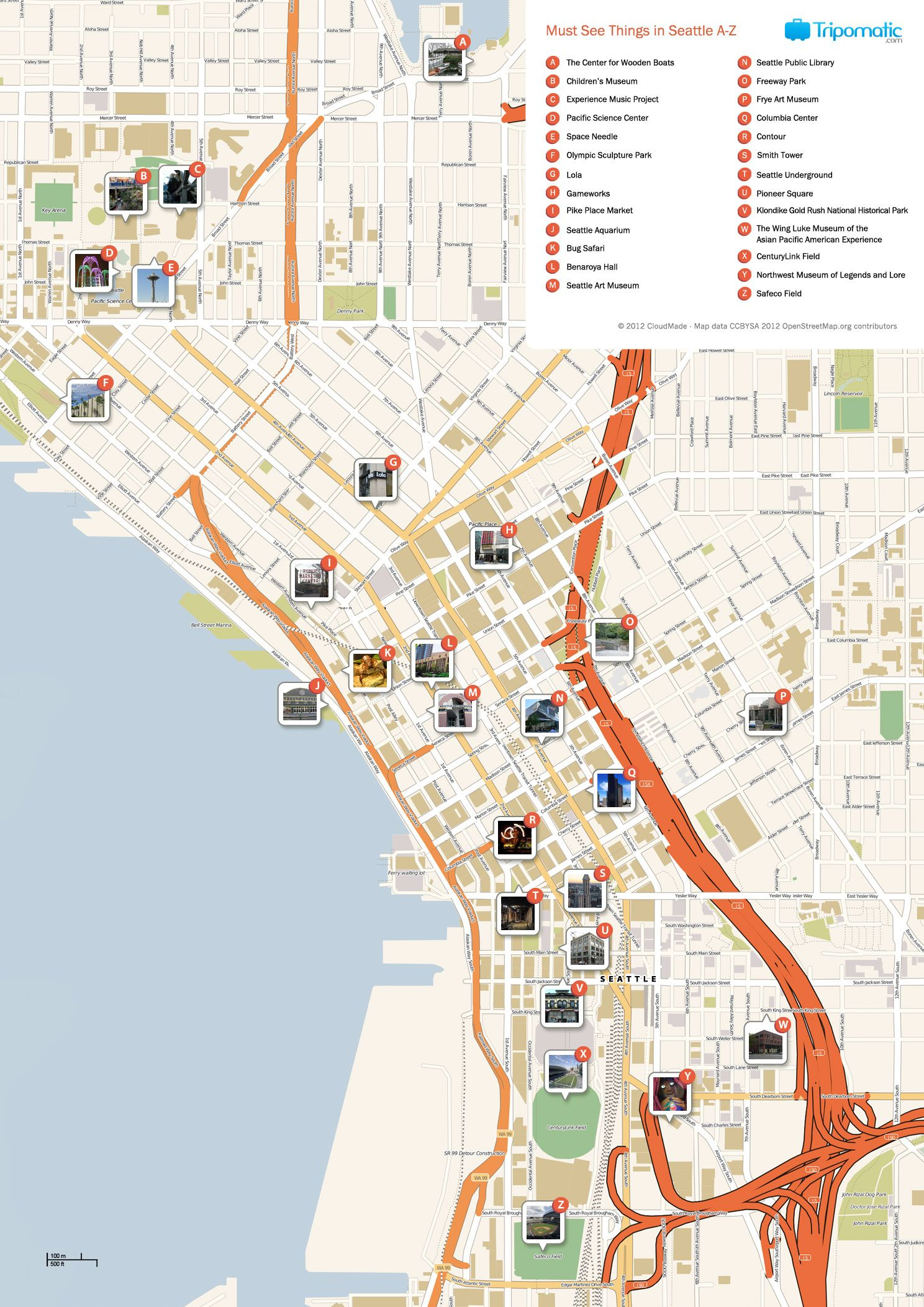 Seattle Printable Tourist Map | Free Tourist Maps ✈ | Pinterest - Printable Map Of Seattle Area