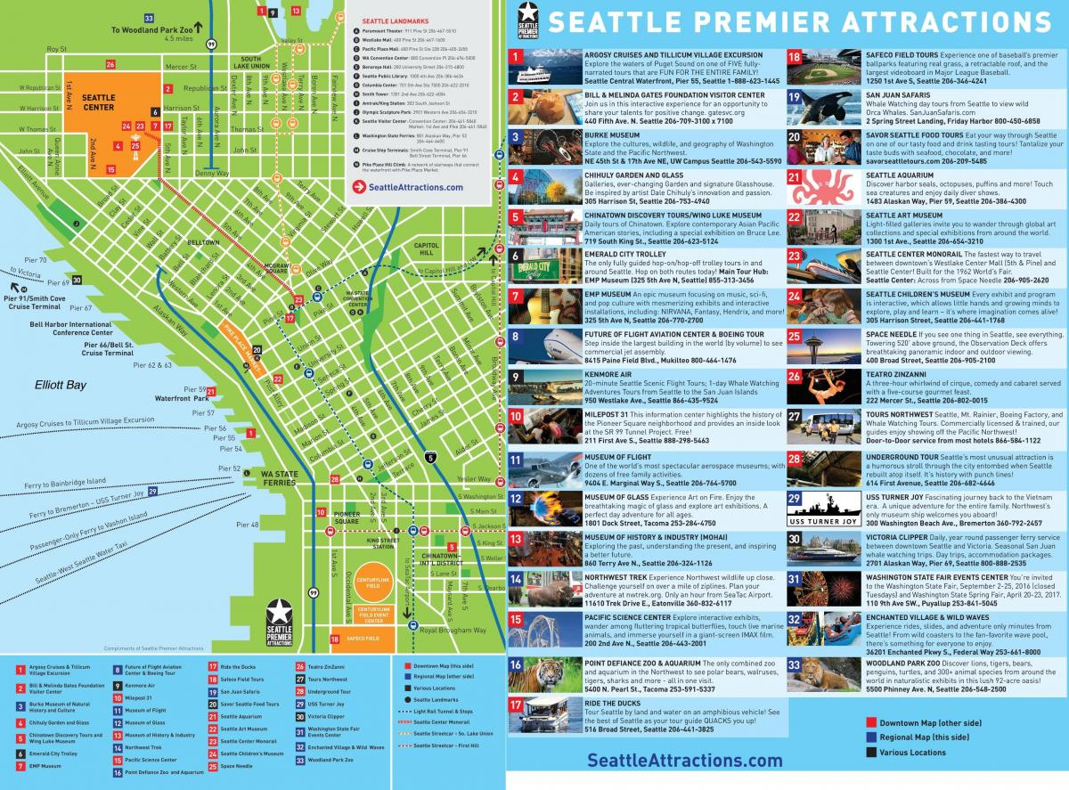 Seattle Sightseeing Map - Downtown Seattle Sightseeing Map - Printable Map Of Downtown Seattle