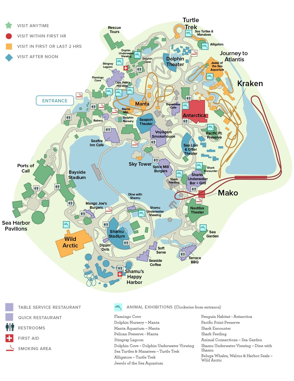 Seaworld® Orlando General Map | Disney And Universal Studios Trip - Seaworld Orlando Map 2017 Printable