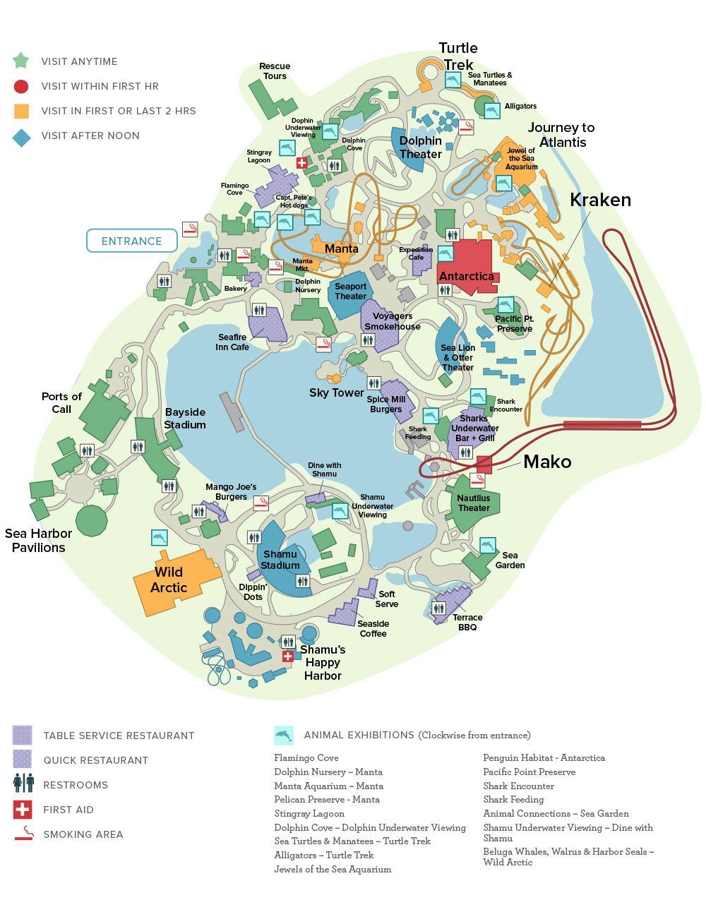 Seaworld® Orlando General Map   Disney And Universal Studios Trip - Seaworld Orlando Map 2018 Printable