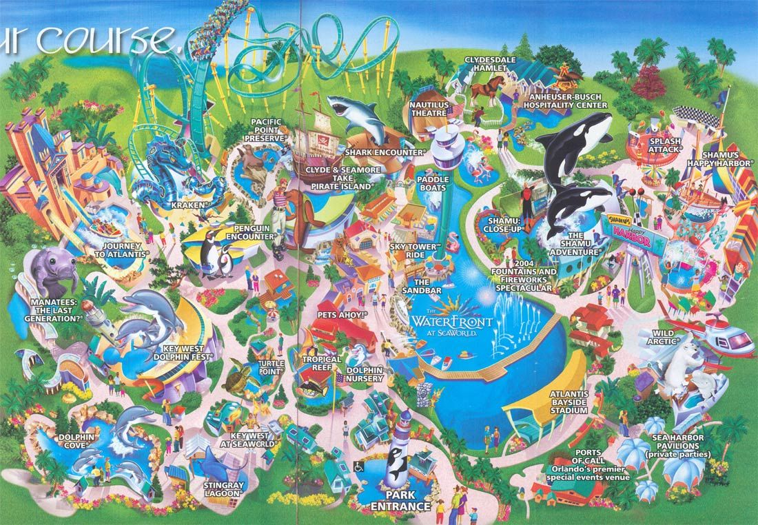 Seaworld Orlando Map   Sea World Orlando 2004 Map Orlando Florida - Florida Sea World Map