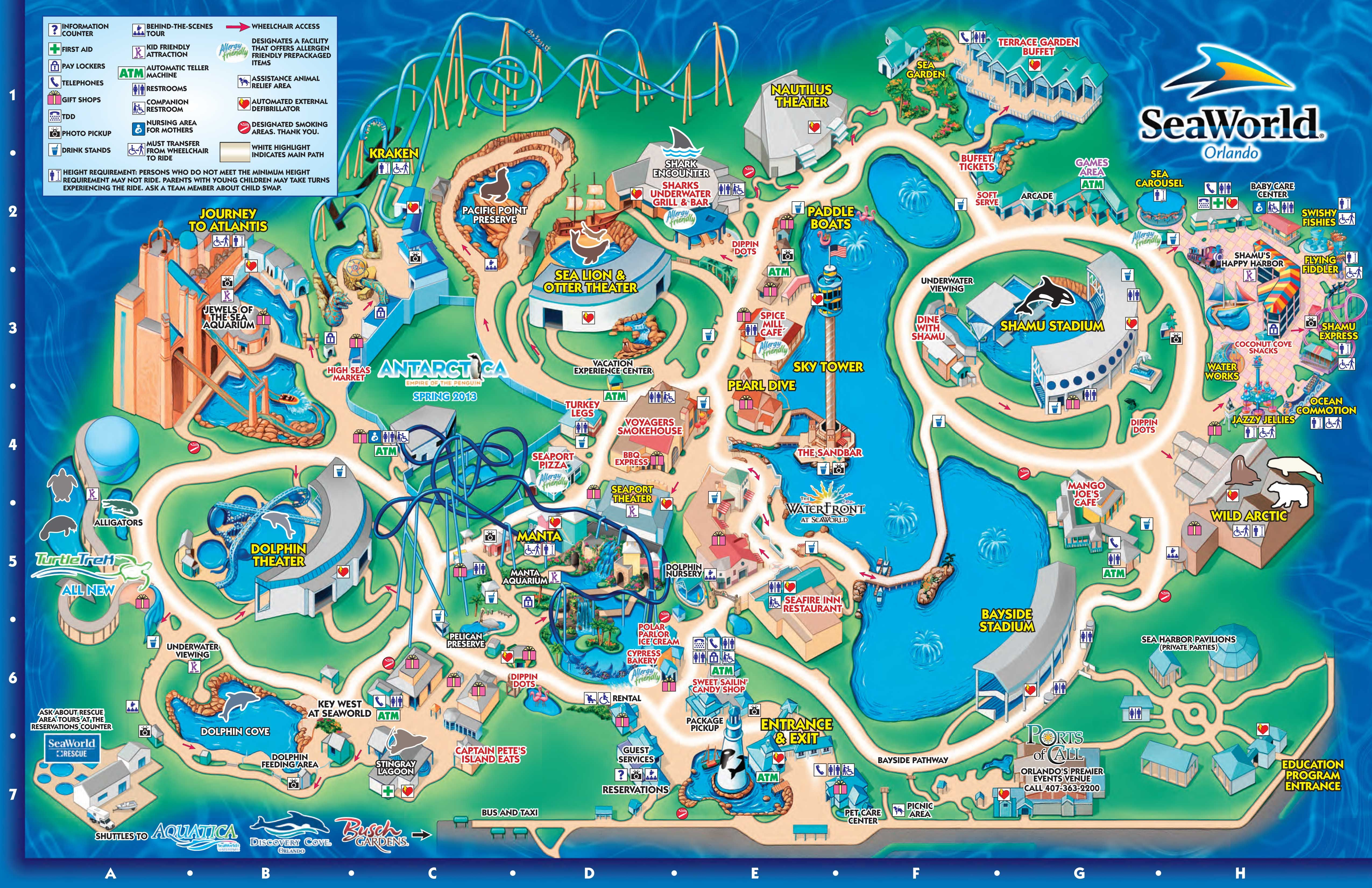 Seaworld Orlando Theme Park Map - Orlando Fl • Mappery   Aquariums - Orlando Florida Parks Map