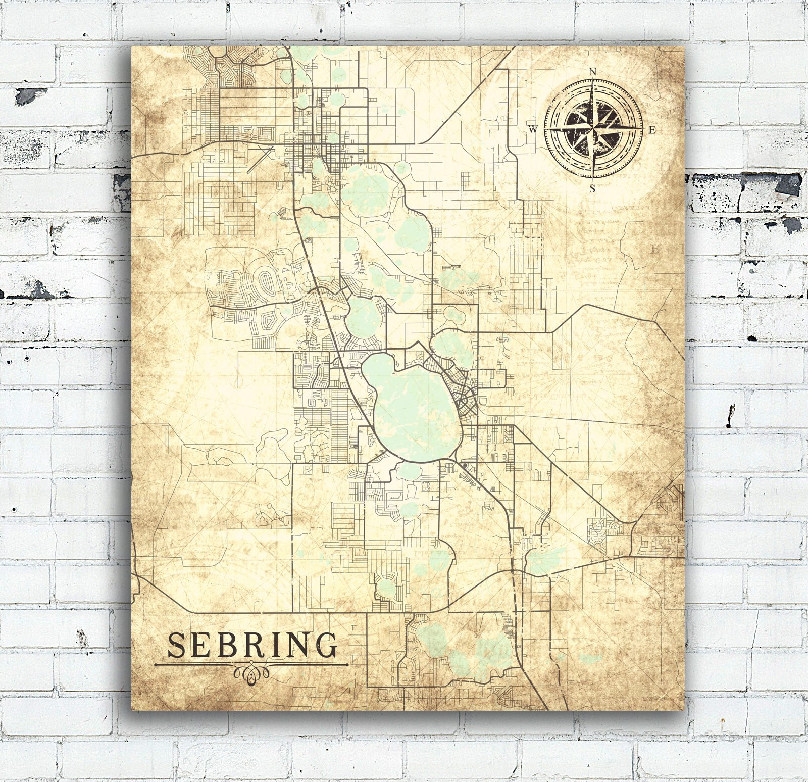 Sebring Fl Canvas Print Florida Fl Vintage Map City Map Florida - Vintage Florida Map Poster