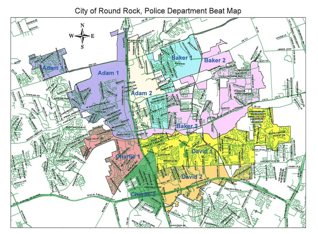 Sector Map - City Of Round Rock - Round Rock Texas Map