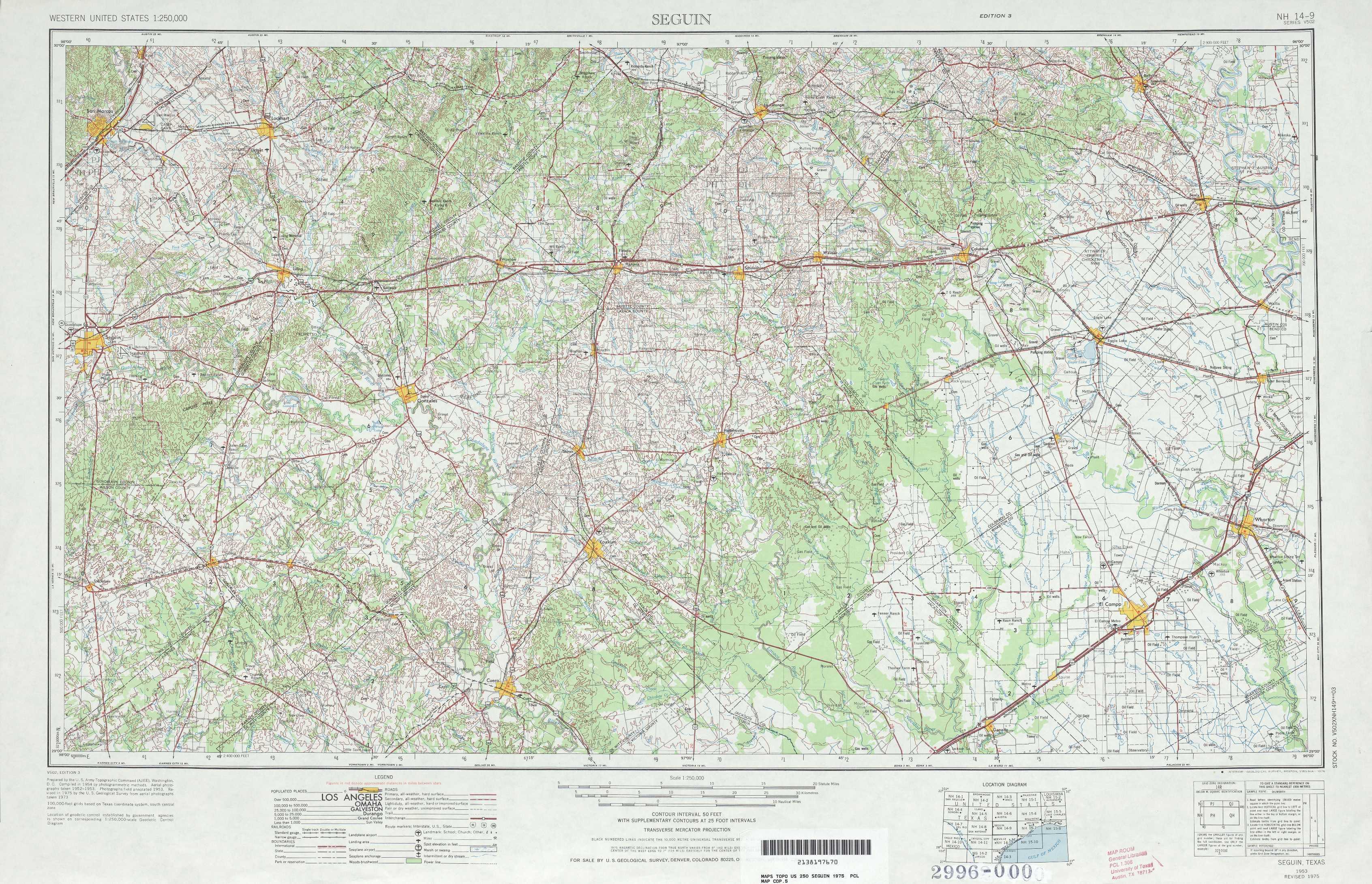 Seguin Topographic Maps, Tx - Usgs Topo Quad 29096A1 At 1:250,000 Scale - Seguin Texas Map