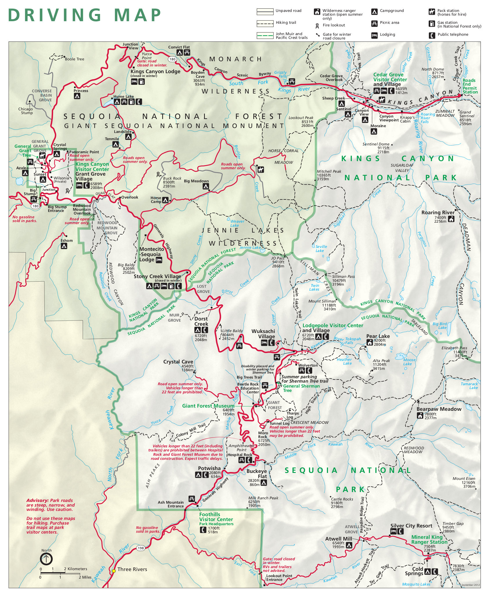 Sequoia Maps | Npmaps - Just Free Maps, Period. - Sequoia National Park California Map
