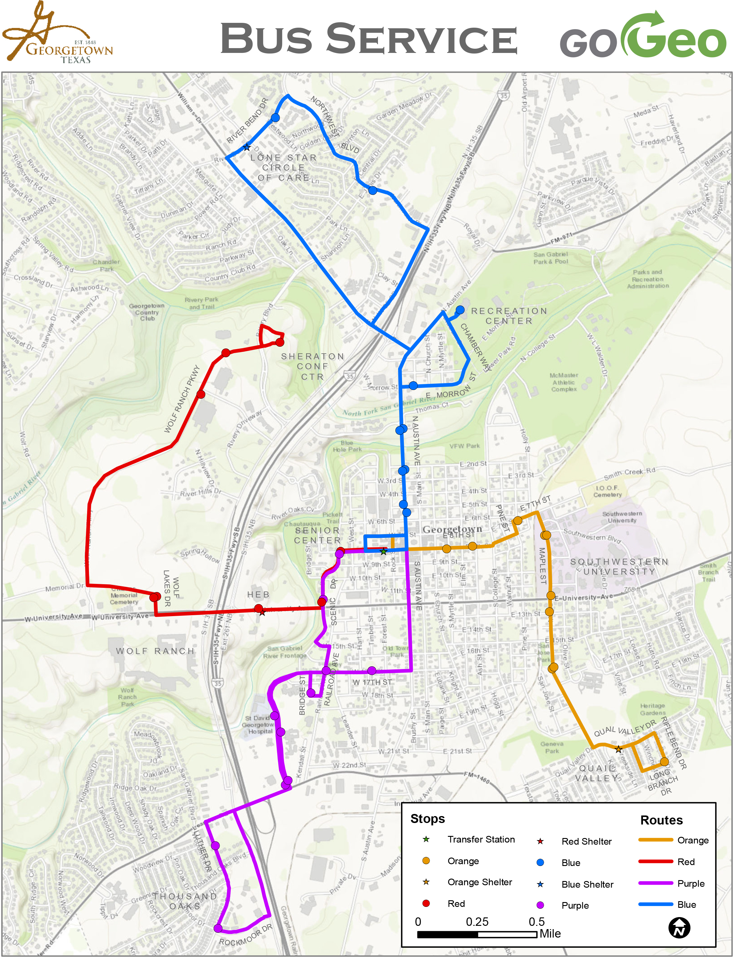 Service Map – Gogeo - Sun City Texas Map