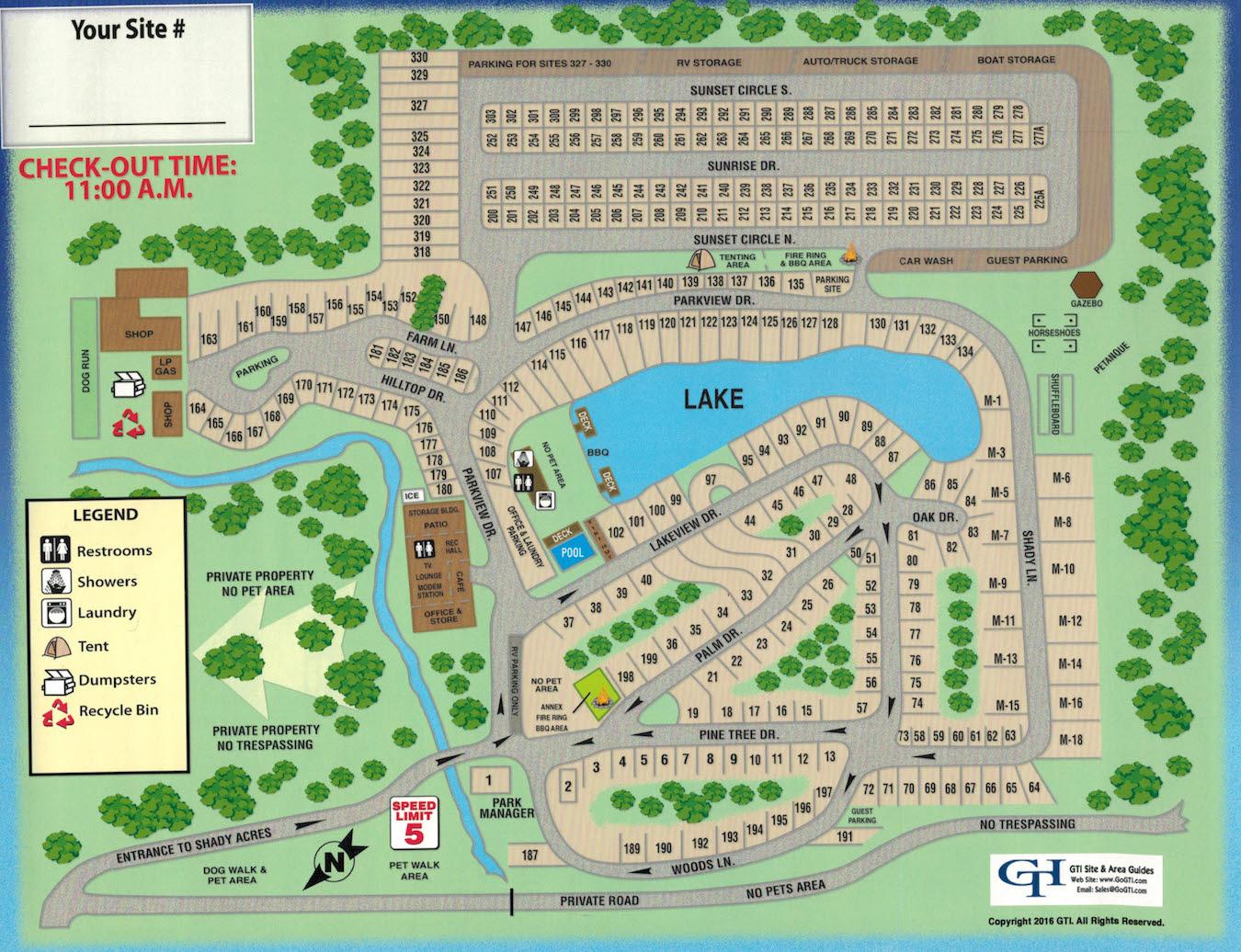 Shady Acres Rv And Camping Park - Park Map - Florida Camping Map