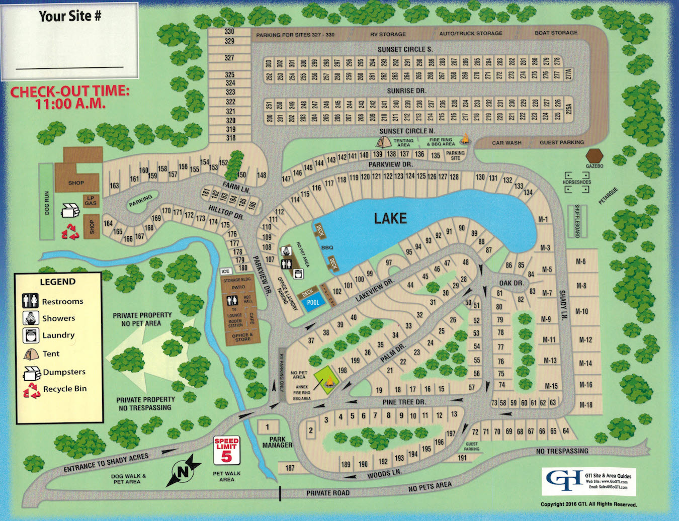 Shady Acres Rv And Camping Park - Park Map - Map Of Rv Parks In Florida