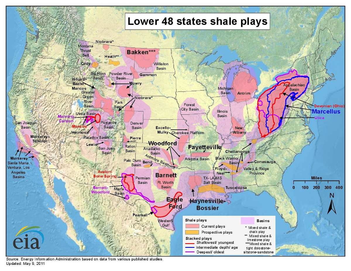 Shale Gas In The United States - Wikipedia - Fracking In Texas Map
