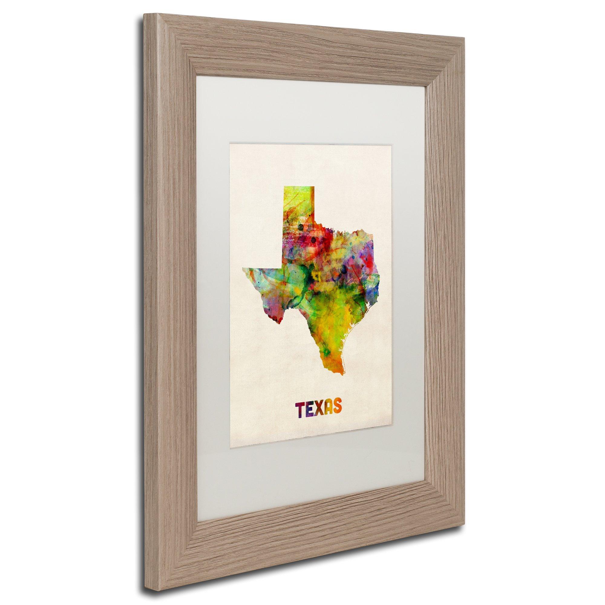 Shop Michael Tompsett 'texas Map' White Matte, Birch Framed Wall Art - Framed Texas Map