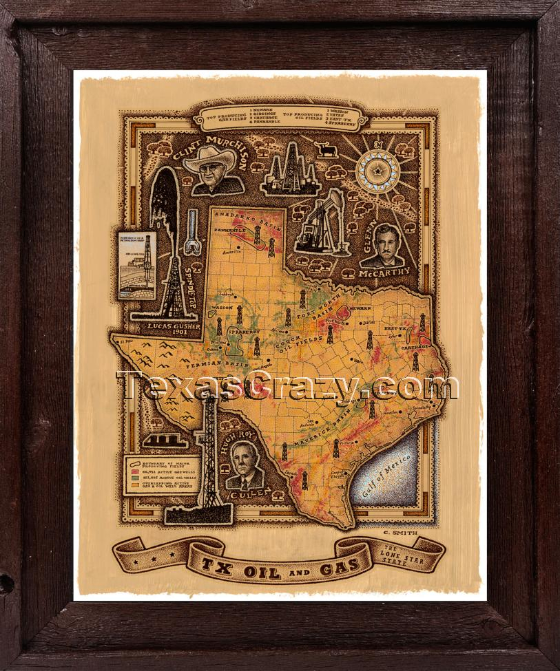 Shop Texas Oil And Gas Map Framed Unique Texas Wall Art - Texas Map Framed Art